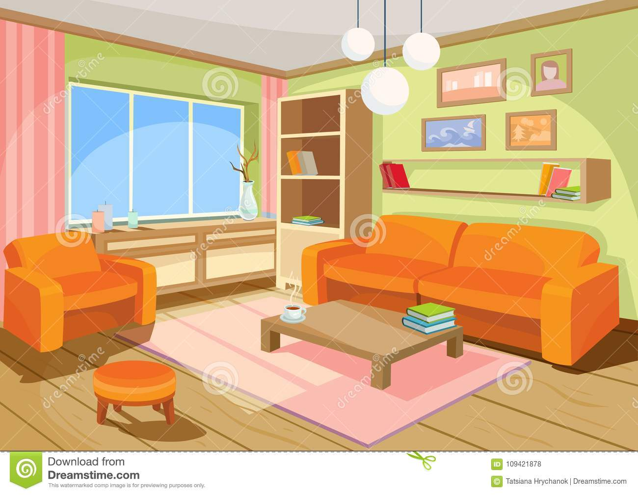 Illustration of a cozy cartoon interior of a home room a living room stock illustration for Cartoon picture of a living room