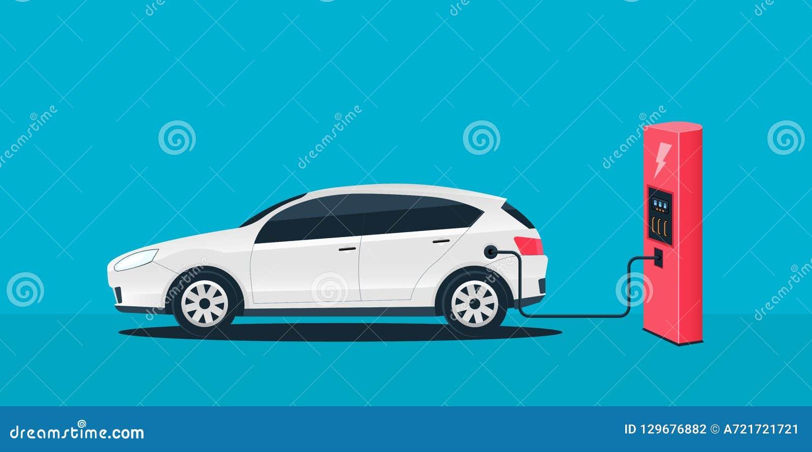 Illustration créative de vecteur de future voiture de remplissage électrique, station de chargeur d isolement sur le fond transpa
