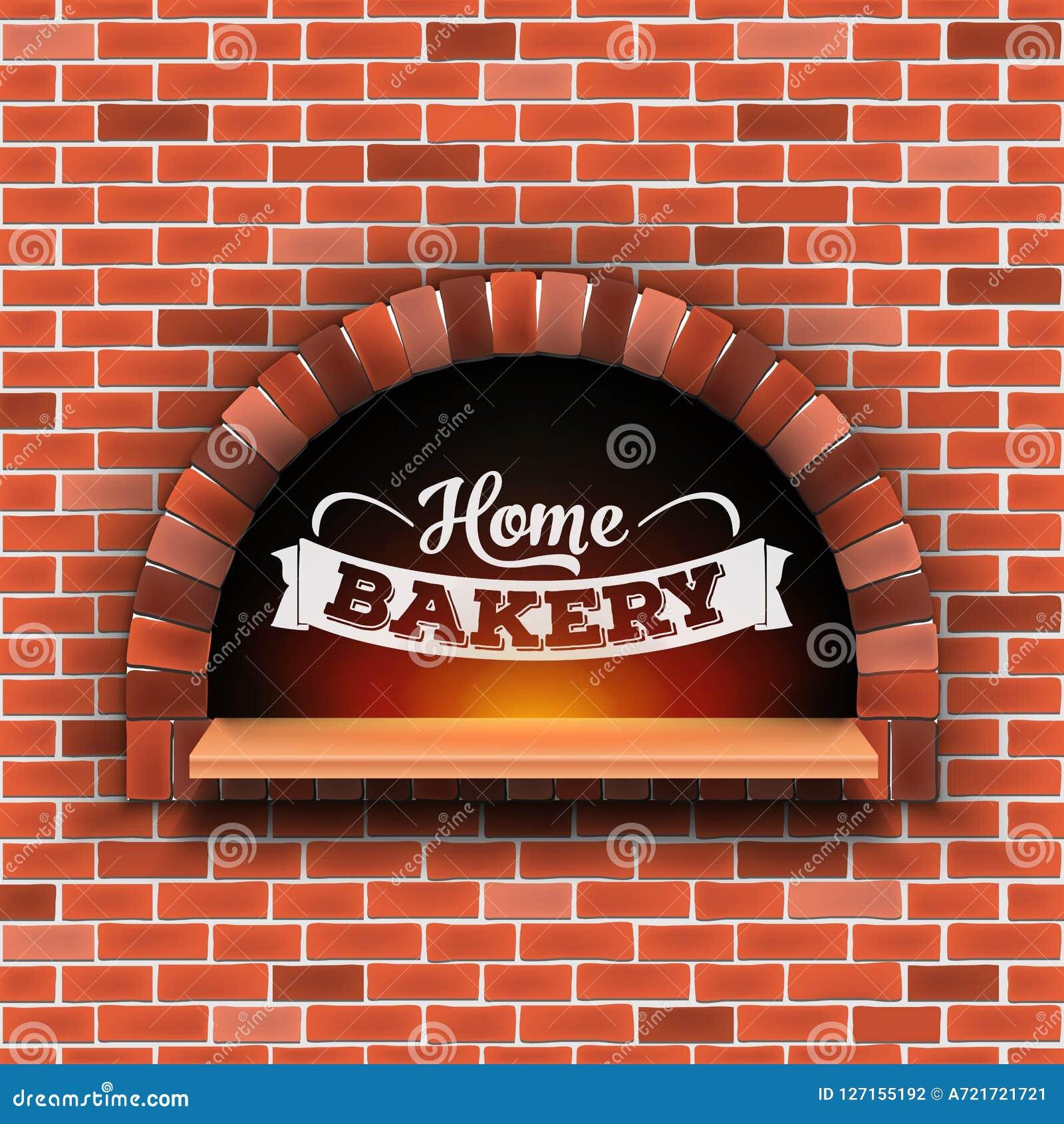Illustration créative de vecteur de la brique en pierre, four de bois de chauffage de pizza avec le feu d isolement sur le fond t