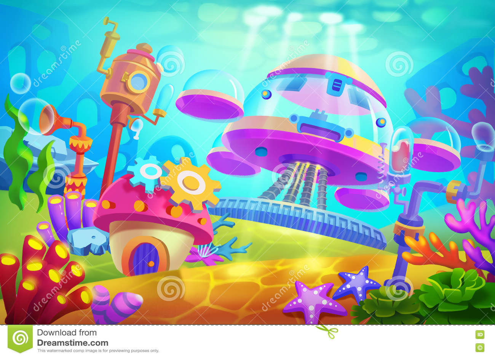 Illustration créative et art innovateur : Base submersible sous-marine
