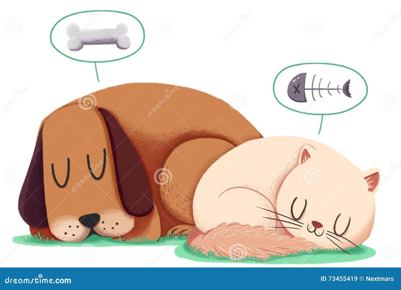 Illustration créative et art innovateur : Chien et Cat Sleep Together