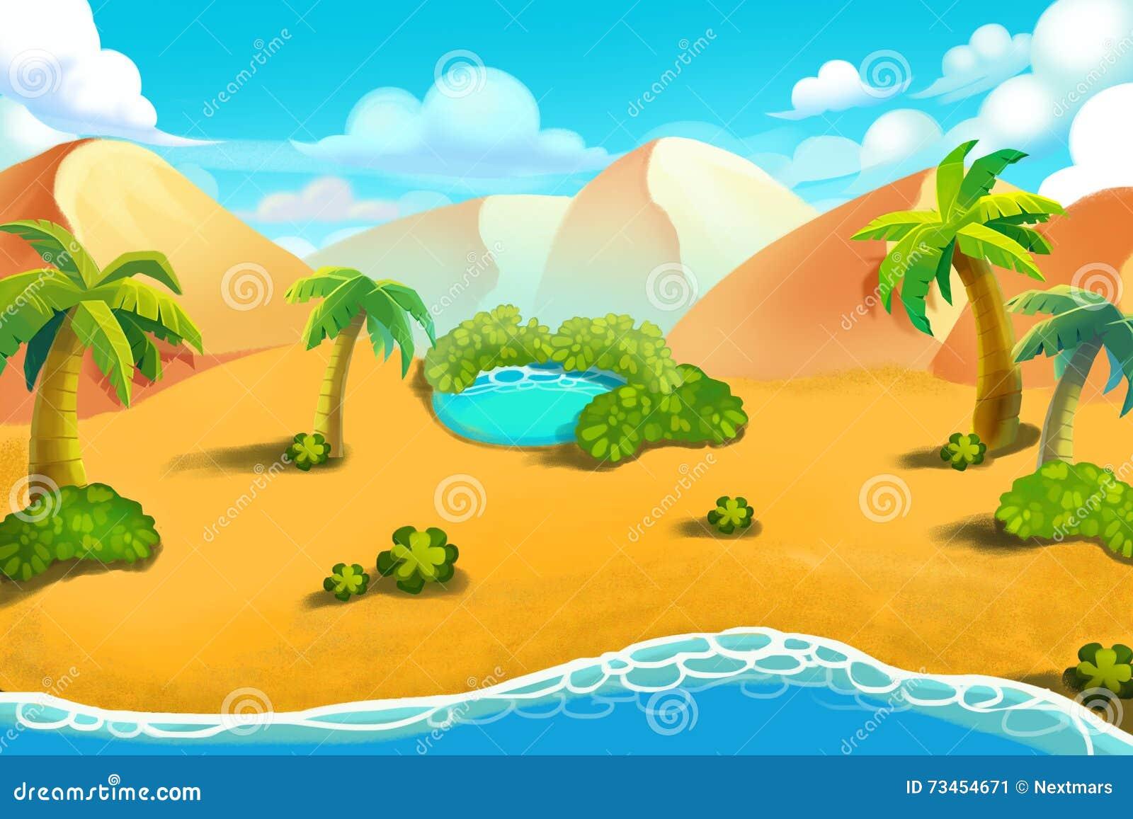 Illustration créative et art innovateur : Colline de désert, oasis de désert