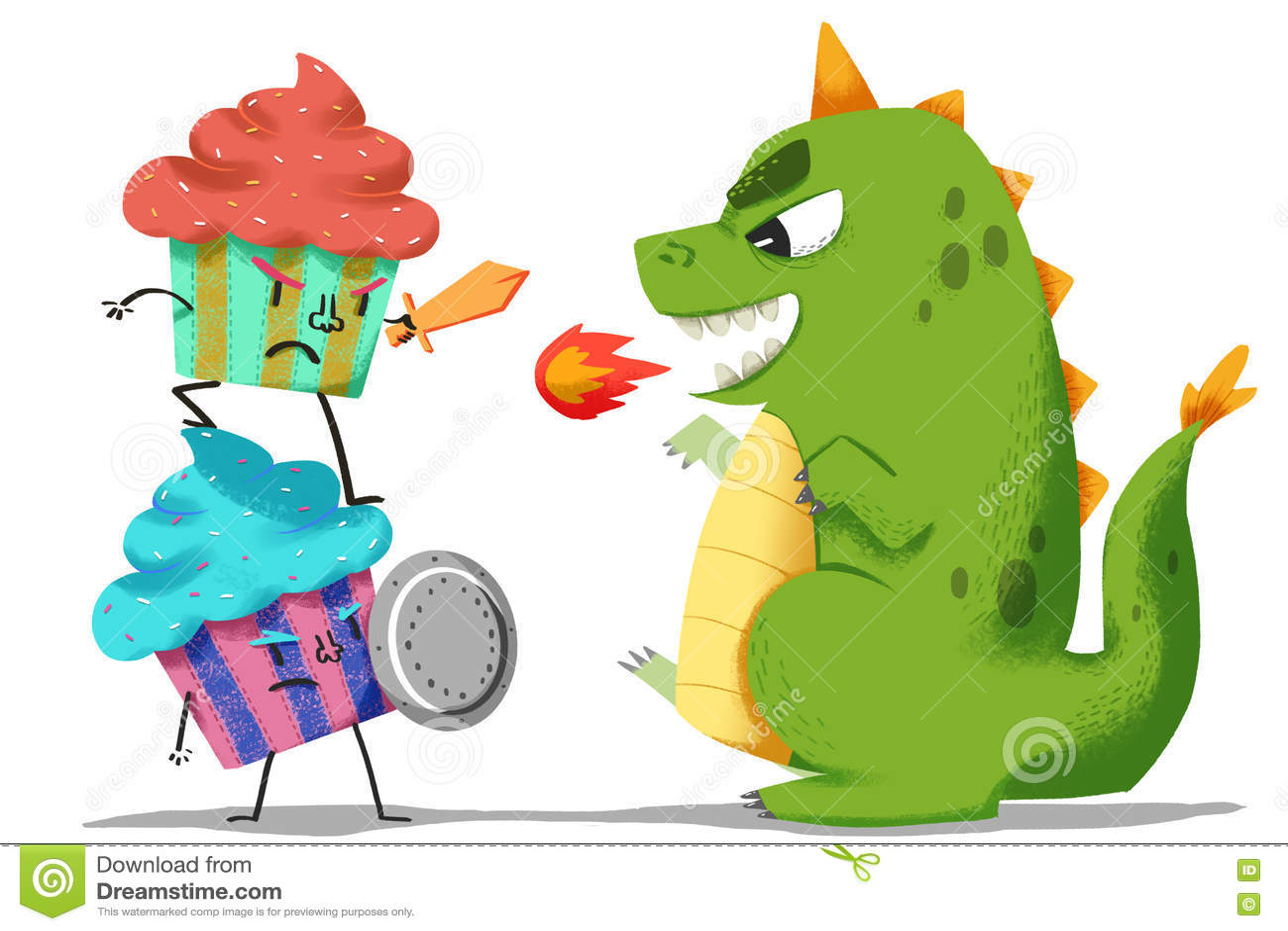 Illustration créative et art innovateur : Combat de gardiens de crème glacée avec le monstre de dinosaure