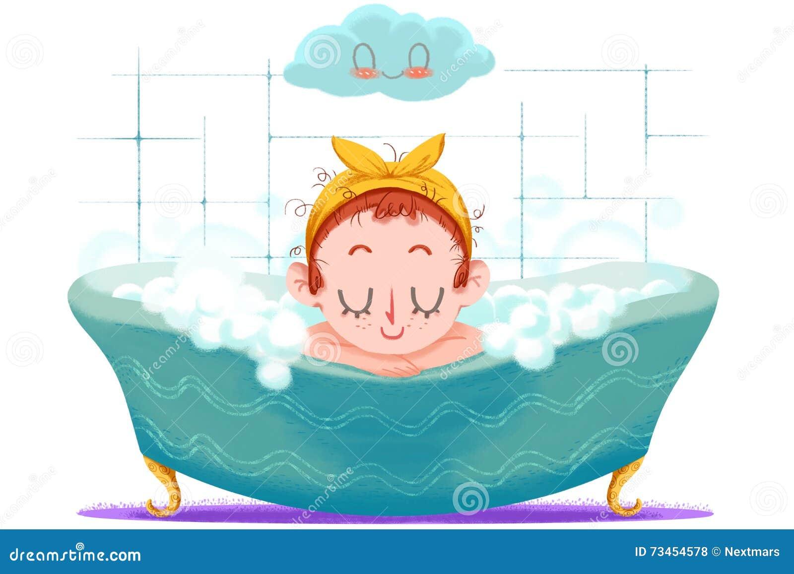 Illustration créative et art innovateur : La petite fille prend Bath heureux dans le baquet