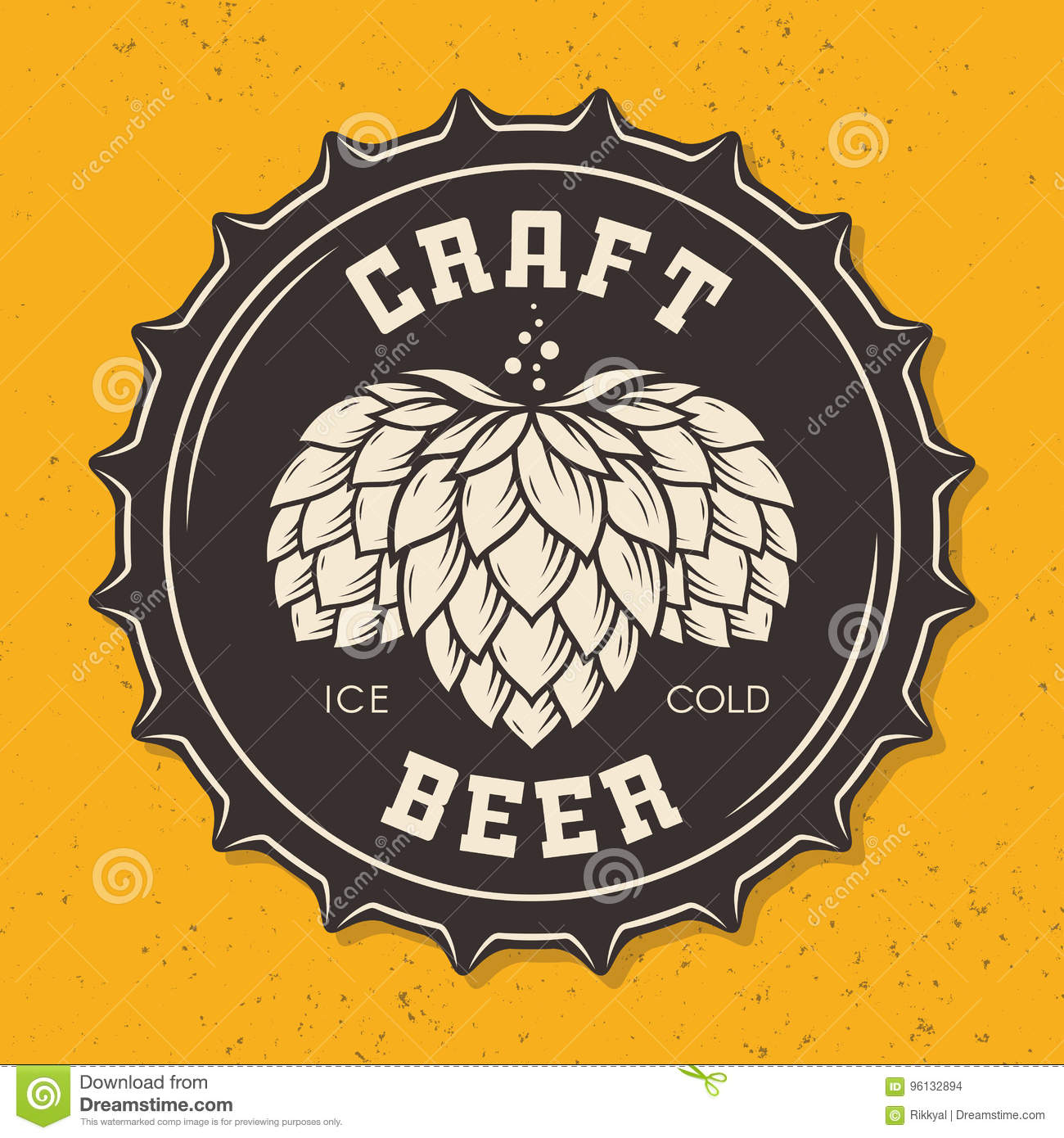 Download Illustration Of Craft Beer Bottle Cap With Hops Stock Vector - Illustration of graphic, brewing: 96132894