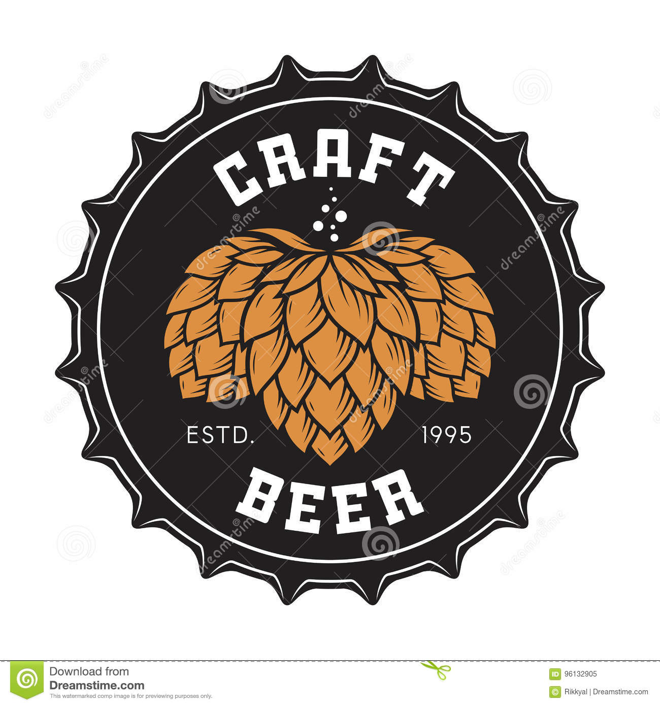 Illustration Of Craft Beer Bottle Cap With Hops Stock