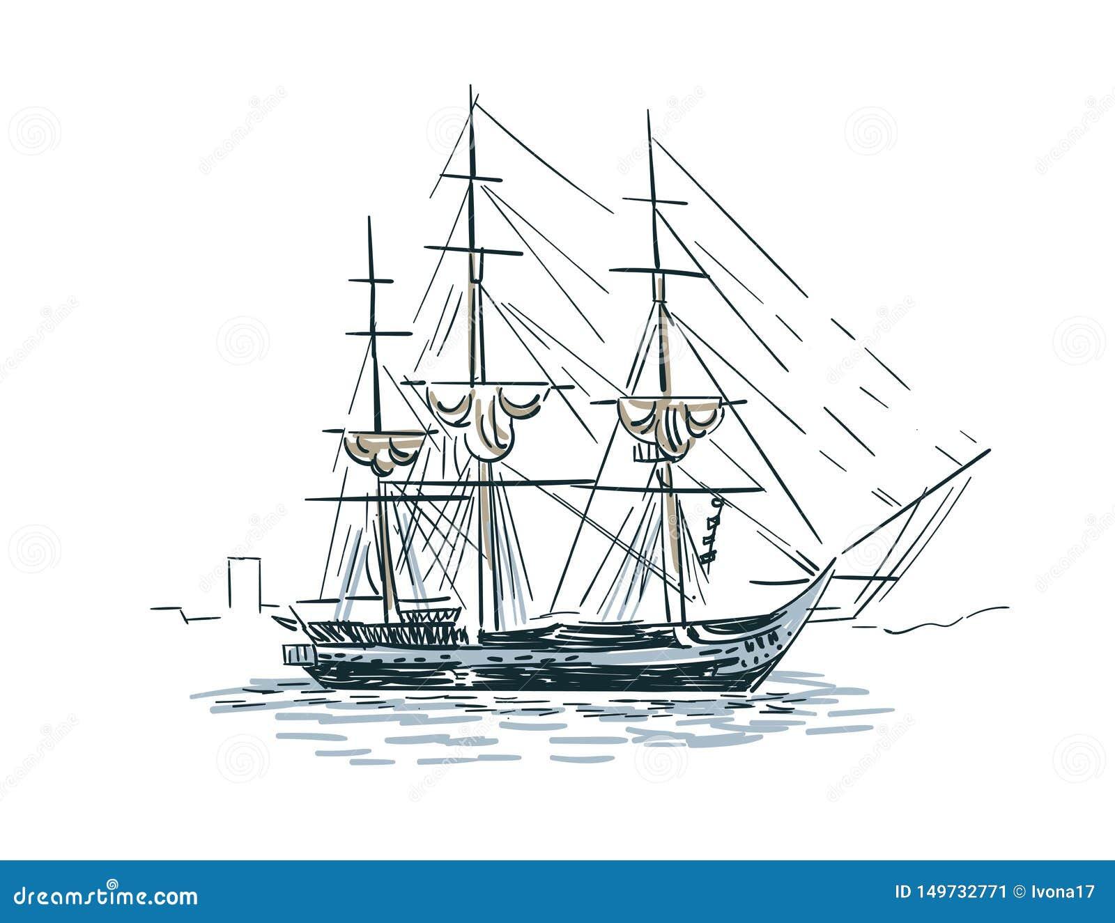 Illustration Croquis De Vecteur De Bateau De Schema A Isole Illustration Stock Illustration Du Schema Illustration 149732771
