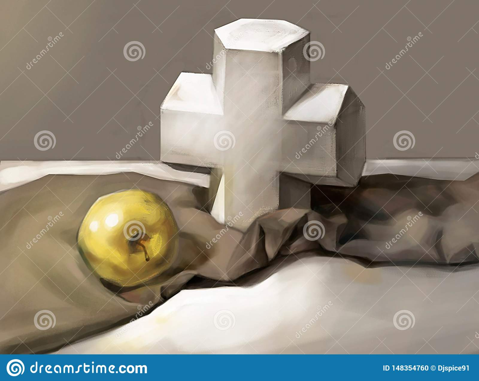 Illustration of a cross and an Apple