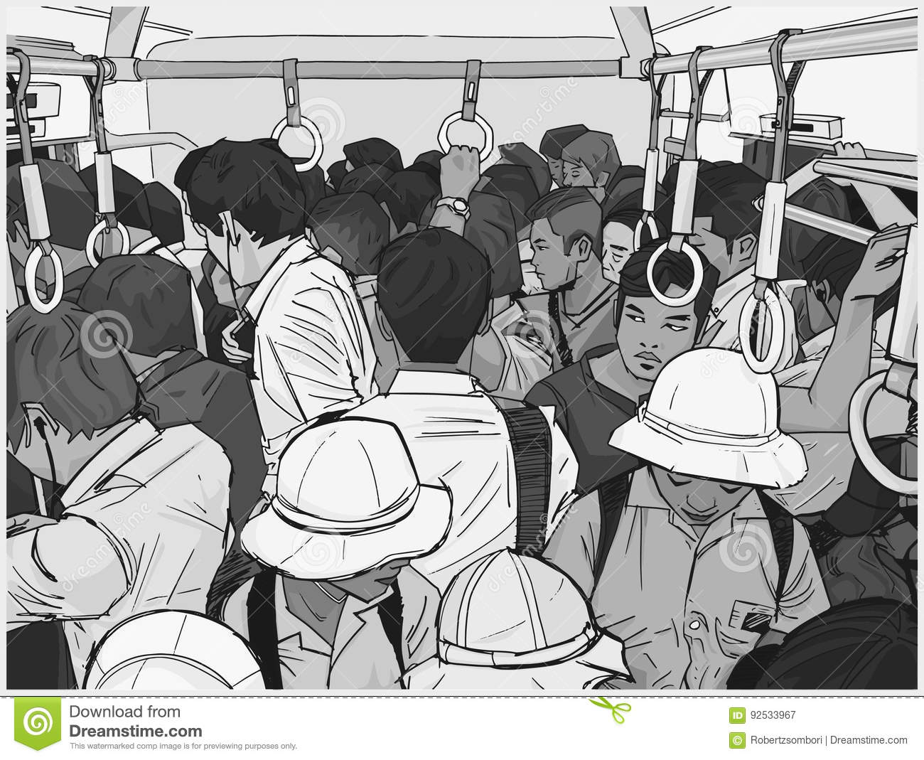 Illustration Of Crowded Commuter Train Royalty Free Stock