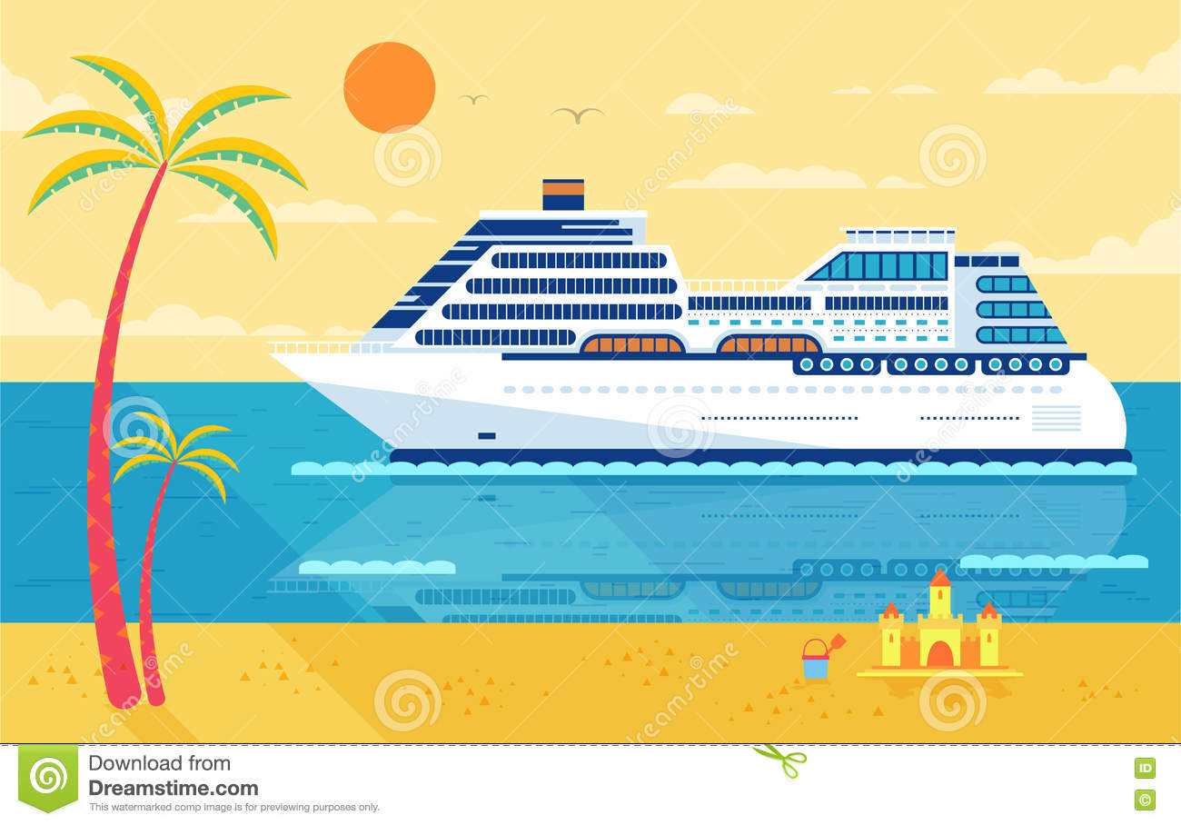 Illustration Of Cruise Ship Side View Near Beach Palm Trees
