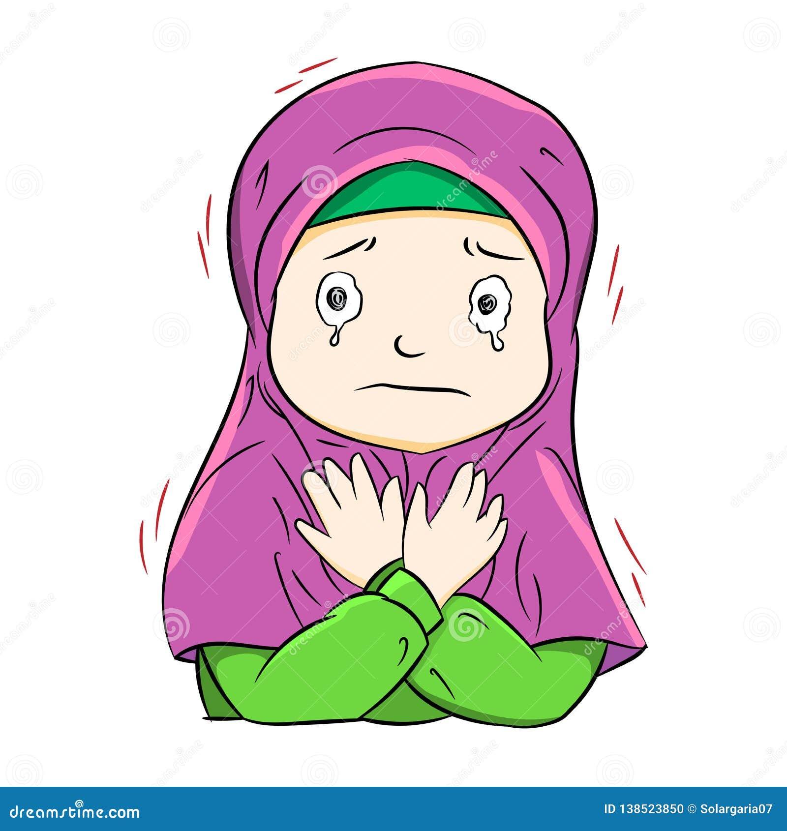 Illustration of crying muslim girl, Vector Illustration..I