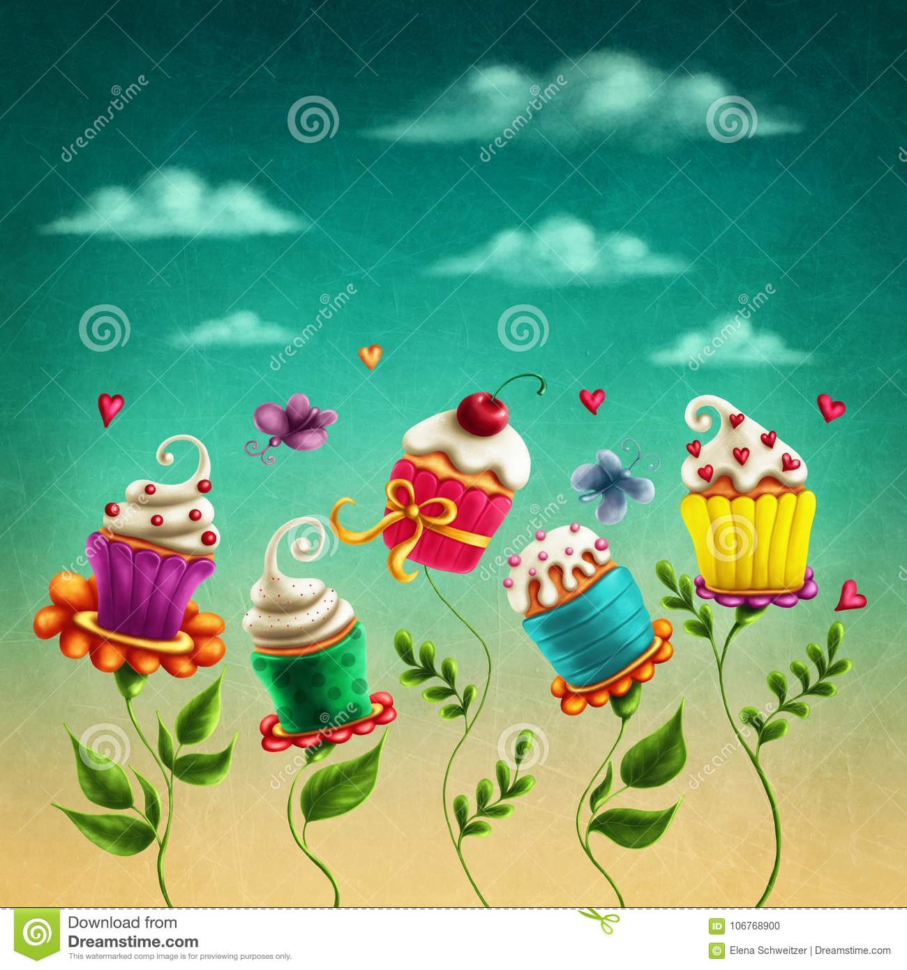 Cup cakes flowers