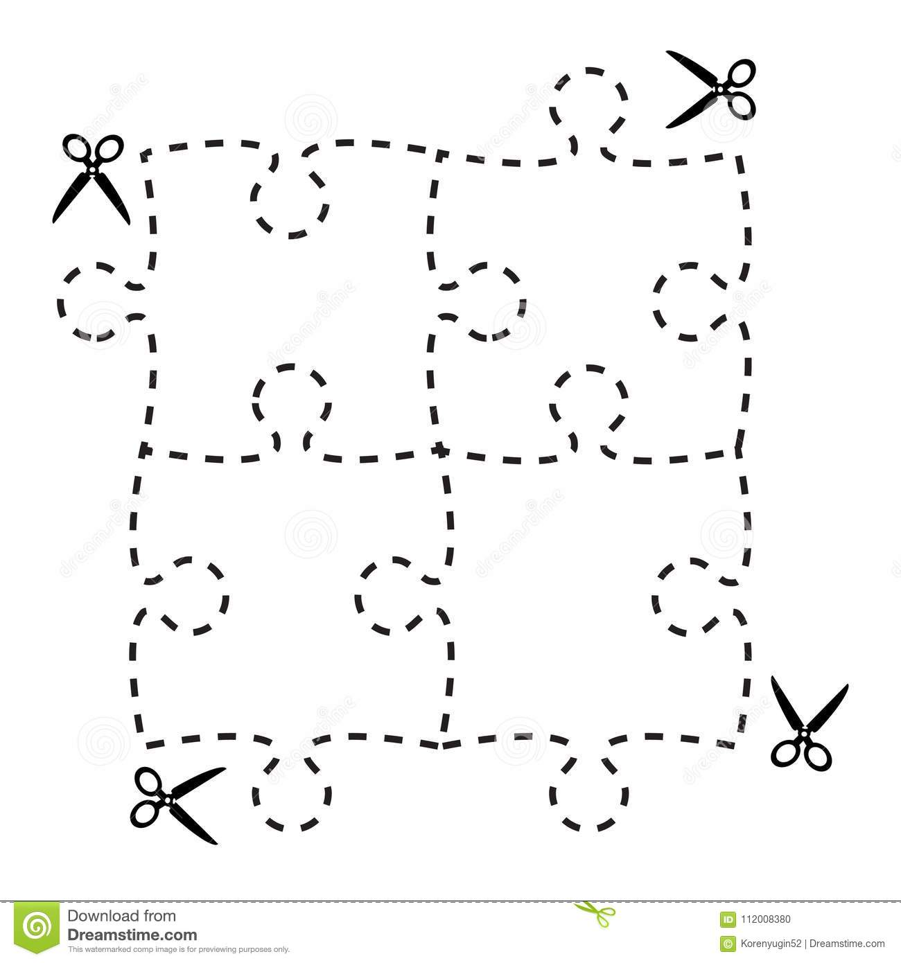 Illustration Of A Cut Out Puzzle Rectangle Shape With Scissors V
