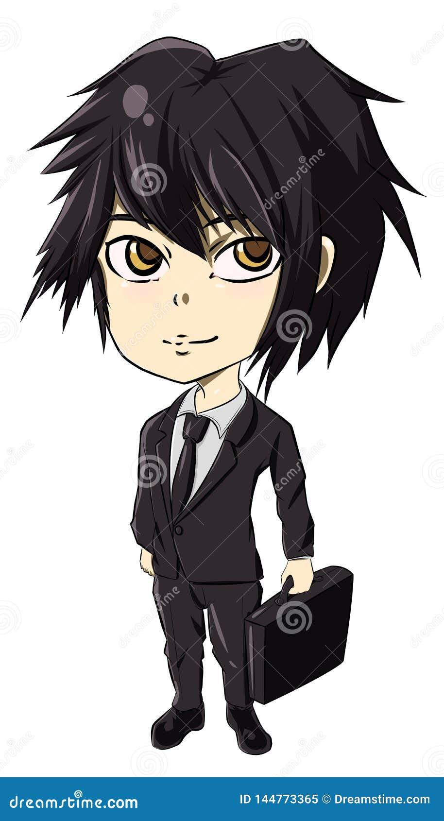 Illustration Of Cute Businessman Cartoon Anime Black Hair Boy Stock