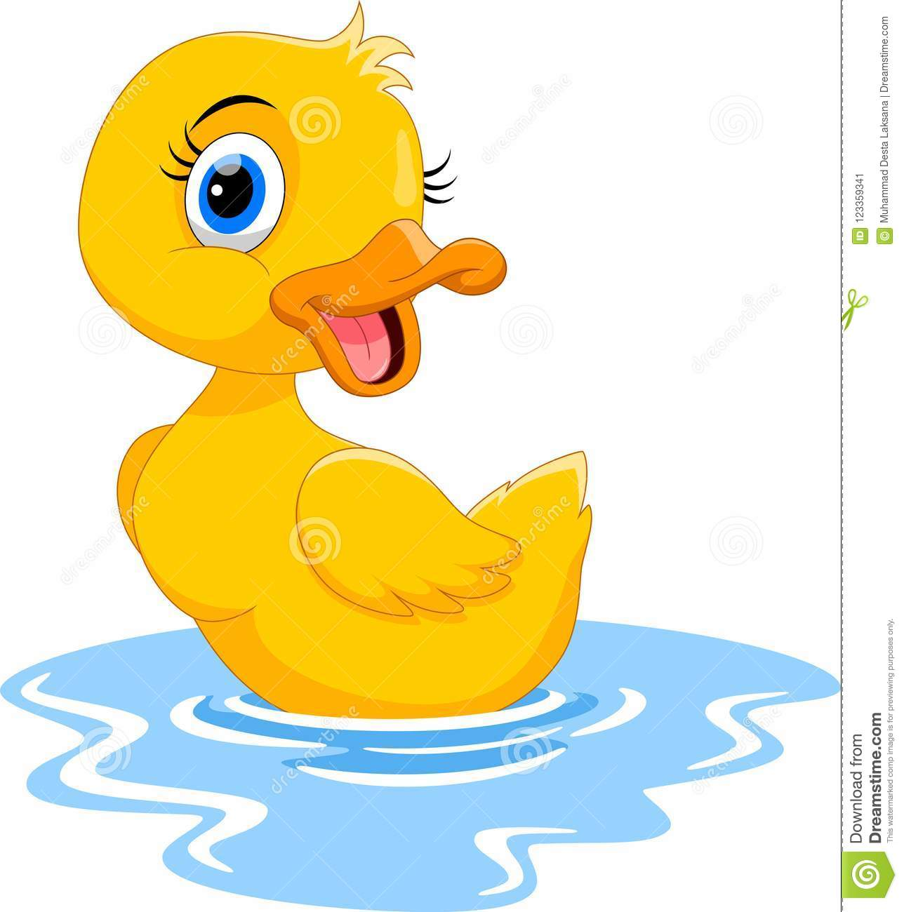 Cute Cartoon Duck Swimming. Funny And Adorable Stock ...