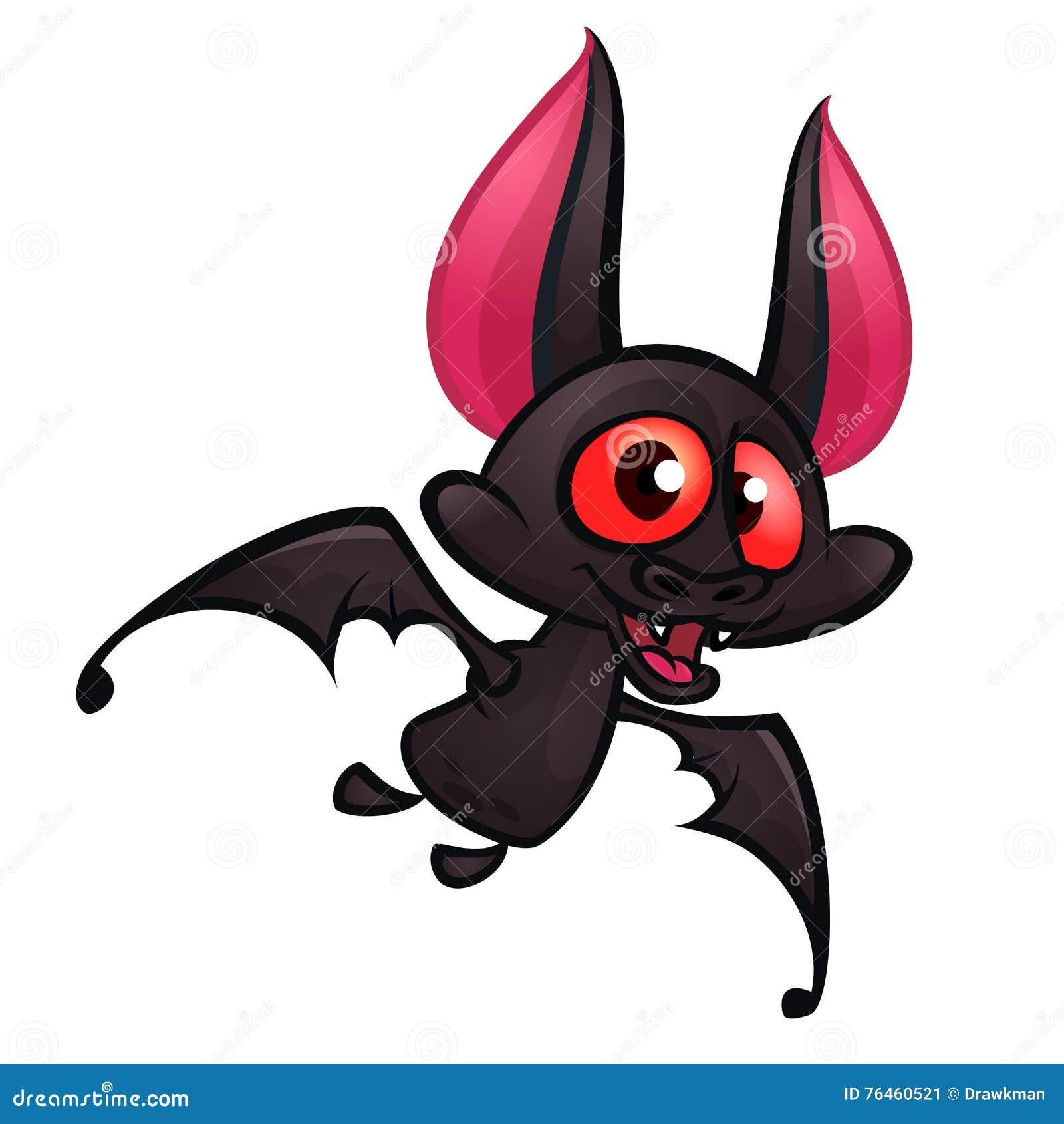 Cartoon Bats: Illustration Of Cute Cartoon Halloween Bat Flying Stock