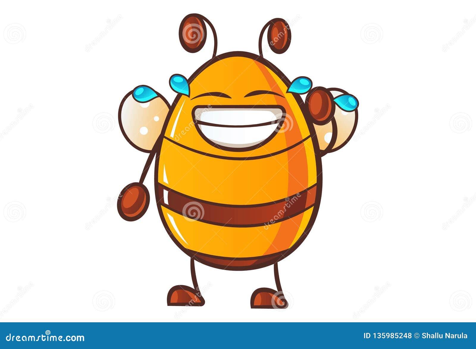 Illustration Of Cute Cartoon honey bee