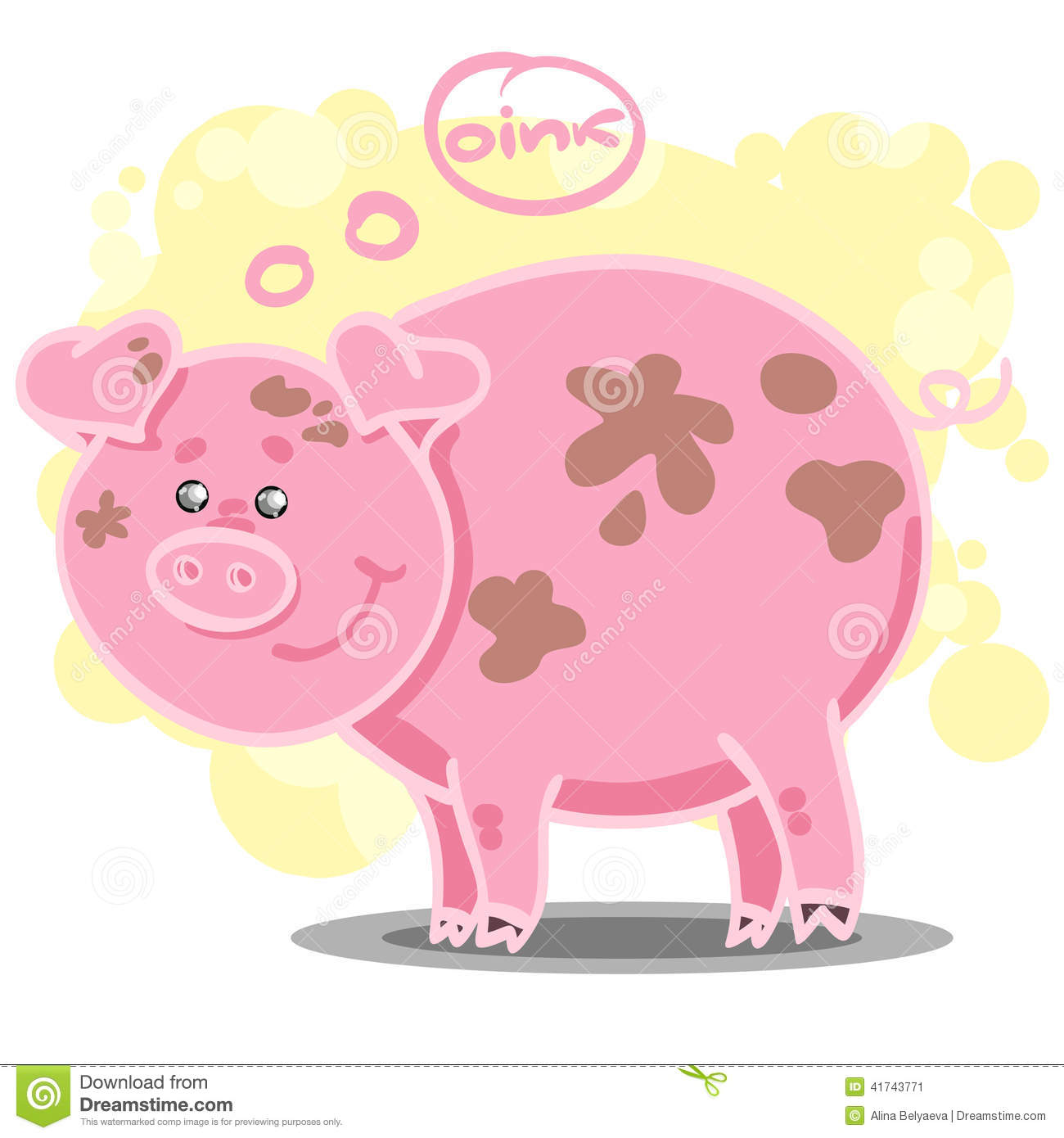 Cute cartoon pig with big eyes