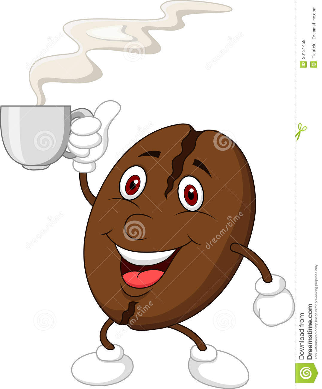 Illustration of cute coffee bean cartoon character with a coffee cup.