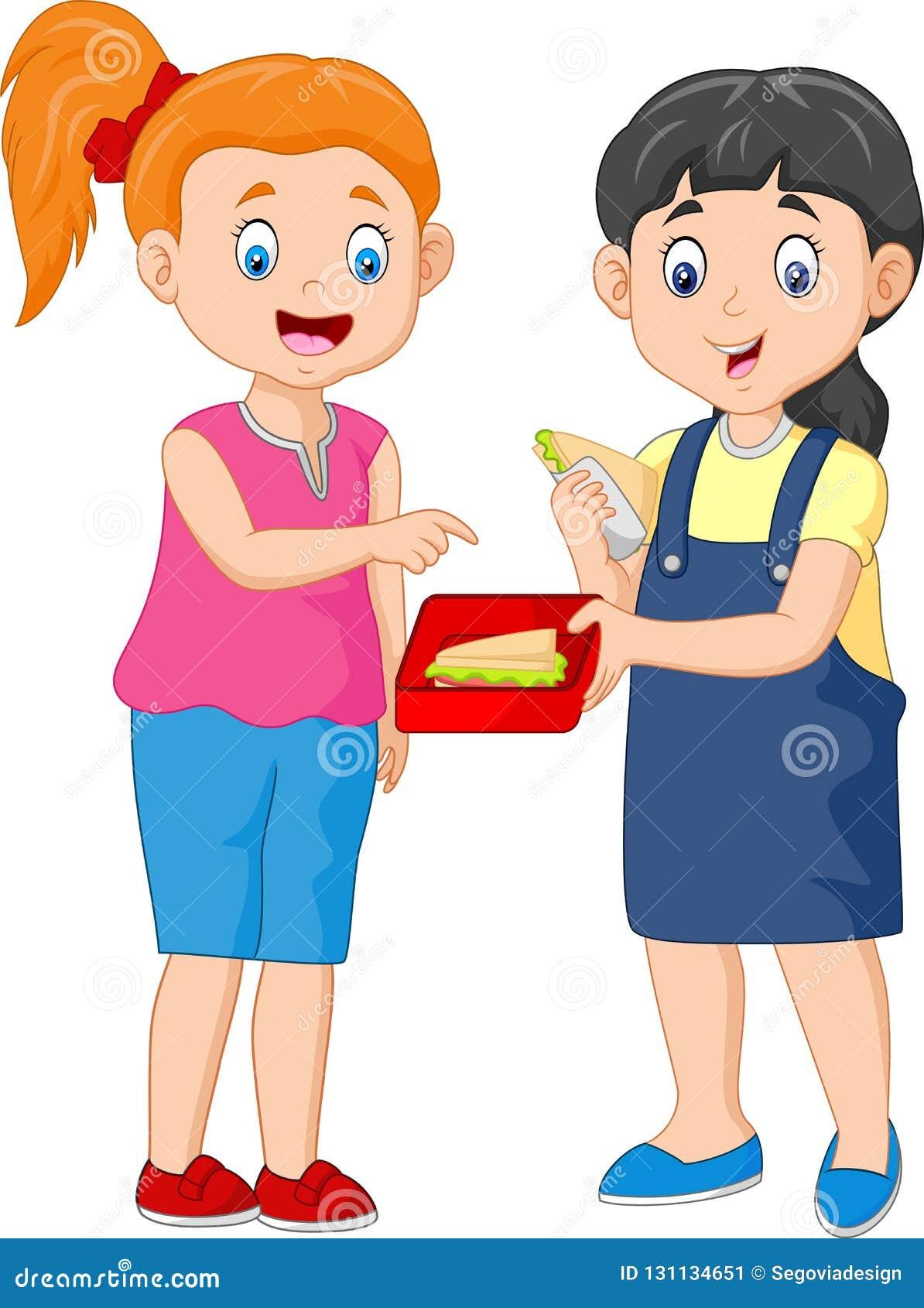 Cute Girl Sharing Sandwich with a Friend