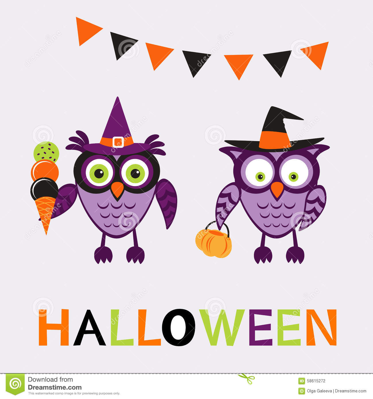 An Illustration Of Cute Halloween Owls