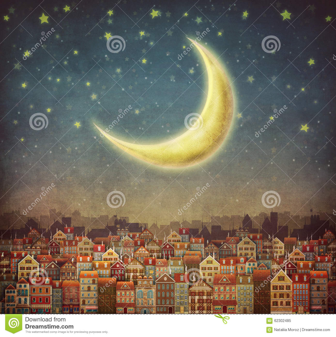 Illustration Of Cute Houses And Moon In Night Sky Stock