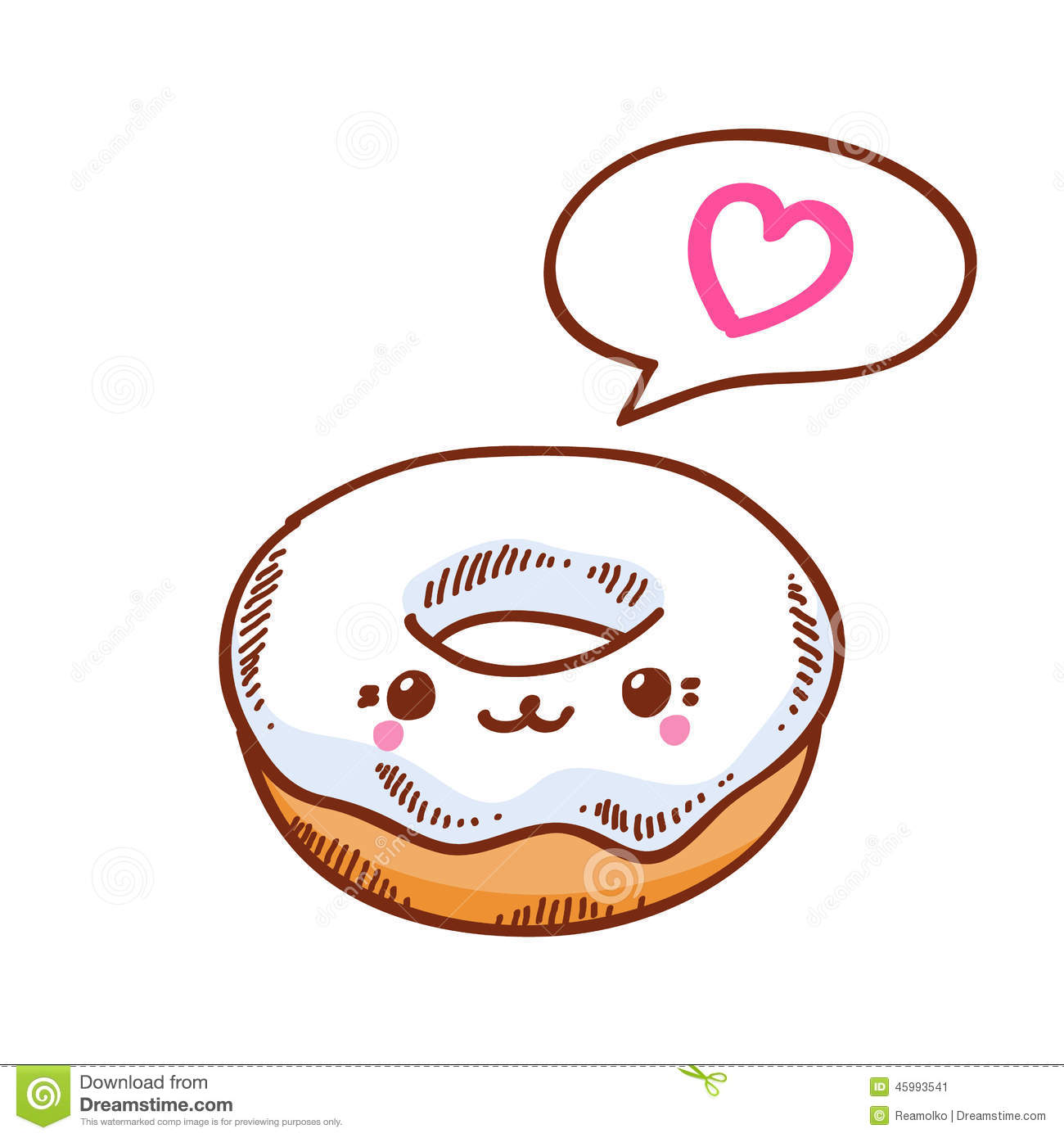 Illustration Of Cute Kawaii Donut. Stock Vector - Image: 45993541