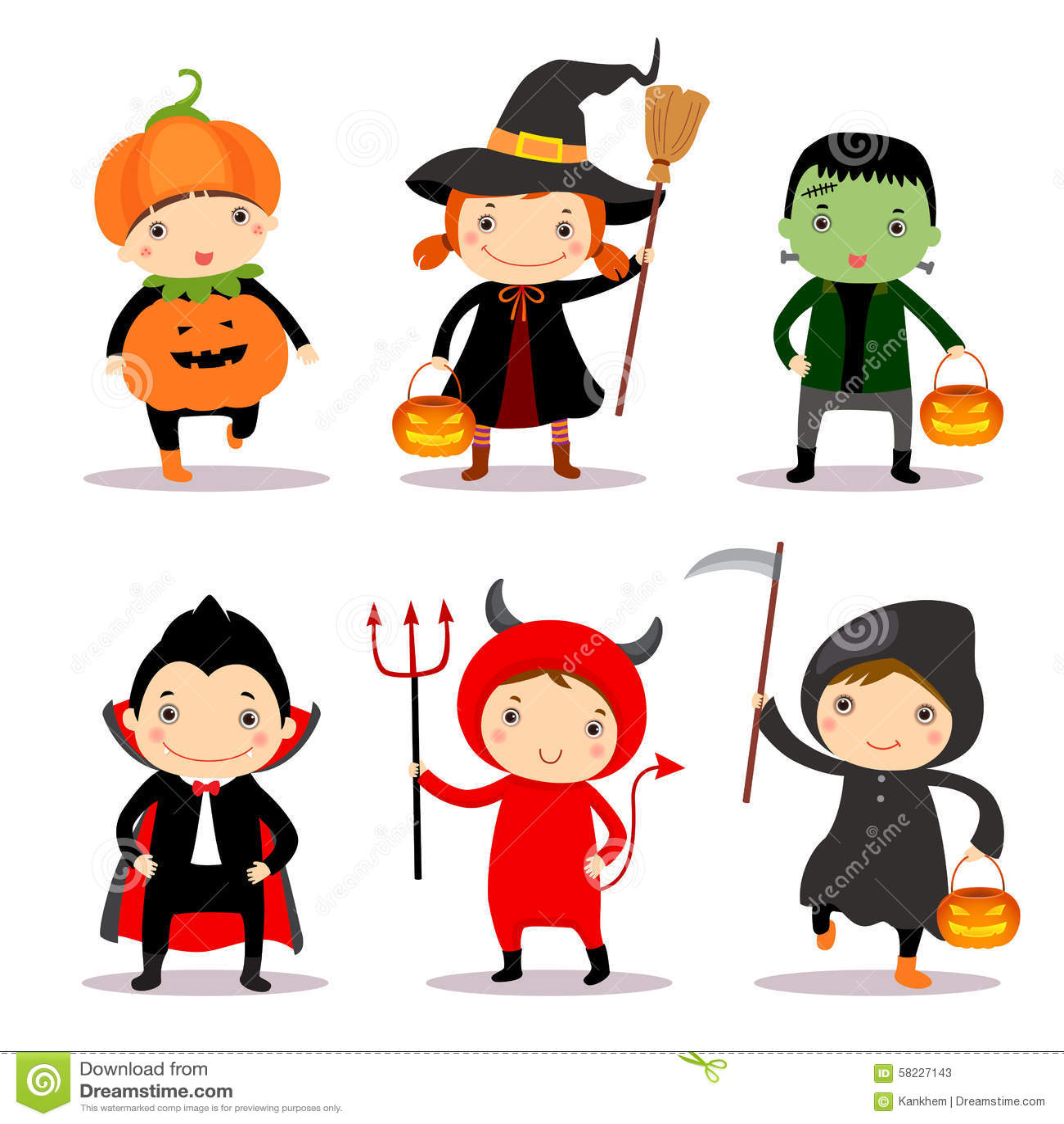 Illustration Of Cute Kids Wearing Halloween Costumes Stock ...