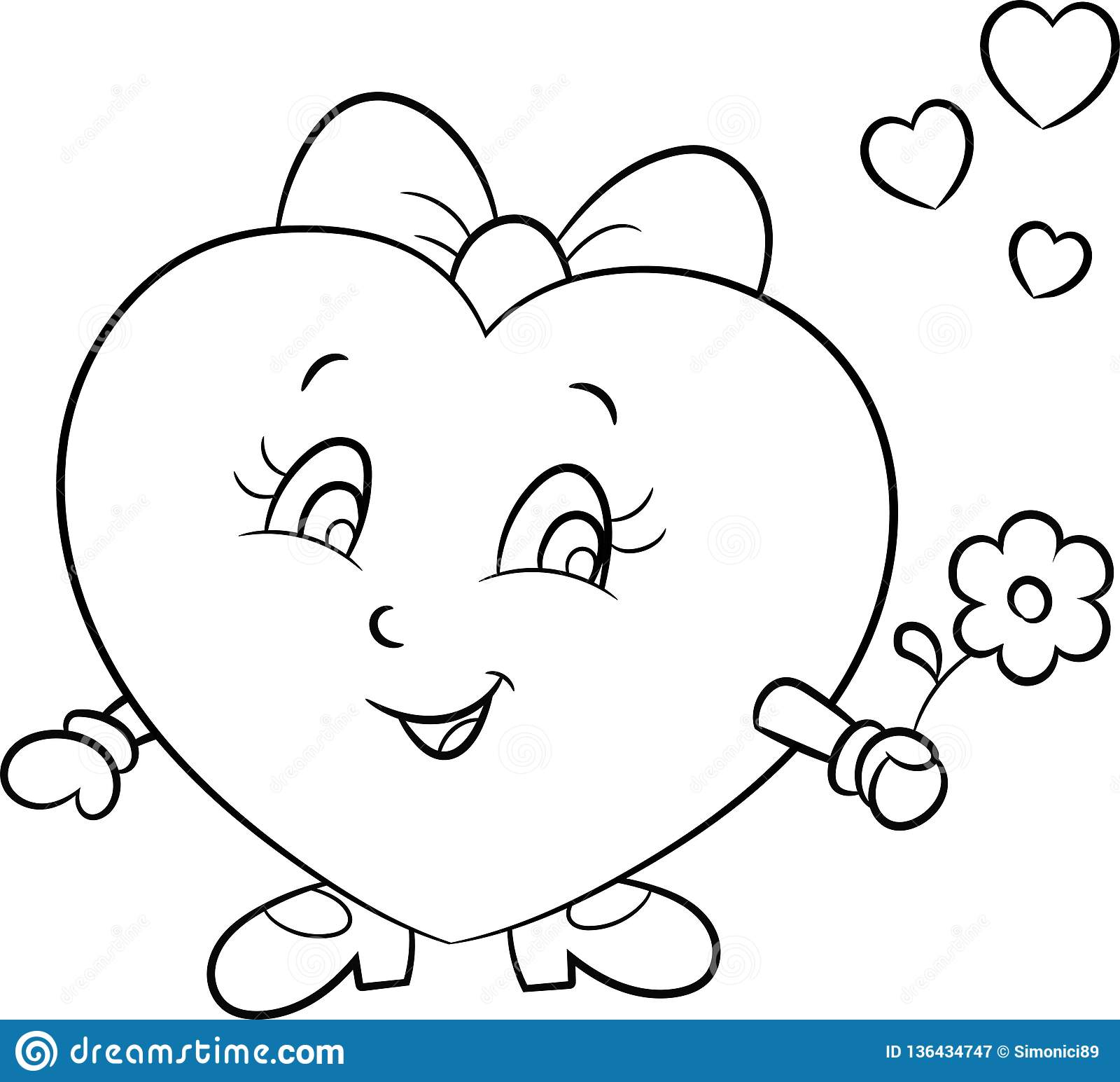 Illustration Of A Cute Little Girl Heart Love Emoji In Black And