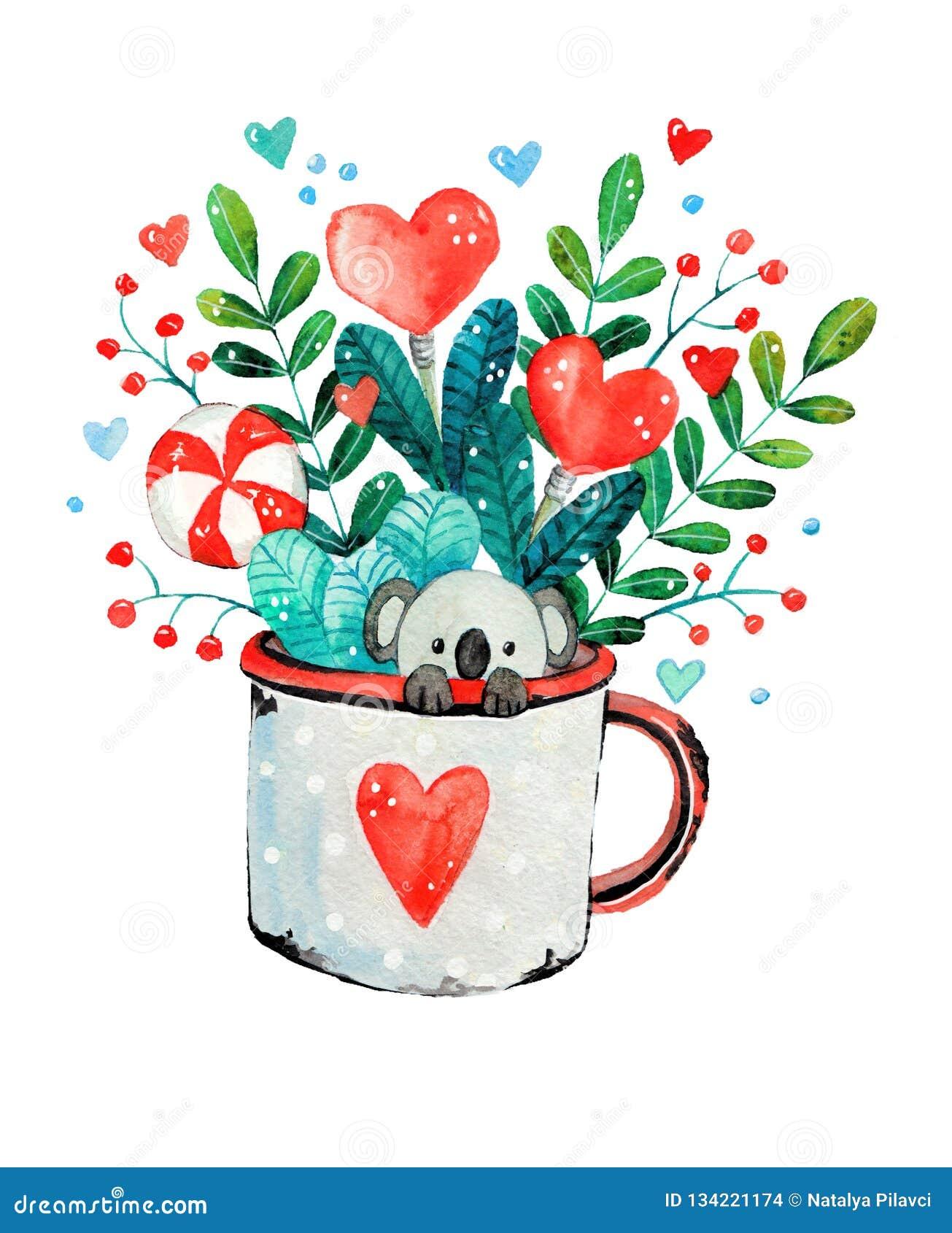 Illustration Of A Cute Little Koala In A Mug Stock Illustration Illustration Of Illustrataplusmn Decorative 134221174