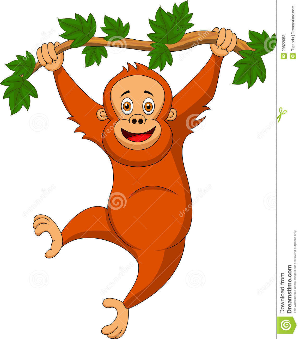 Cute Orangutan Cartoon Hanging On A Tree Branch Stock