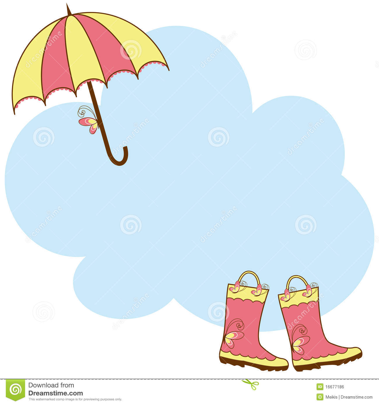 illustration cute rain boots and umbrella royalty free
