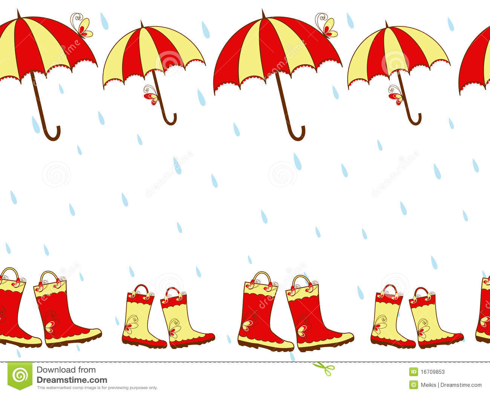 illustration cute rain boots and umbrella seamless stock