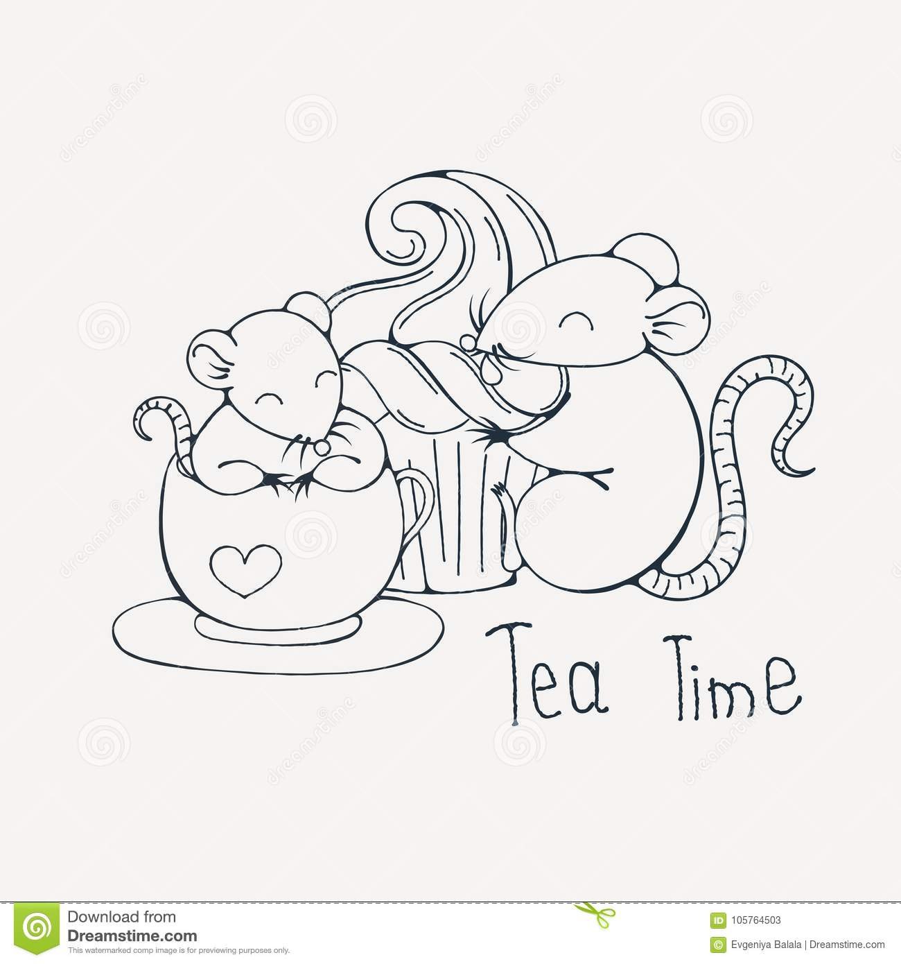 Illustration With Cute Rat In A Cup Of Tea Or Coffee With Cupcakes ...