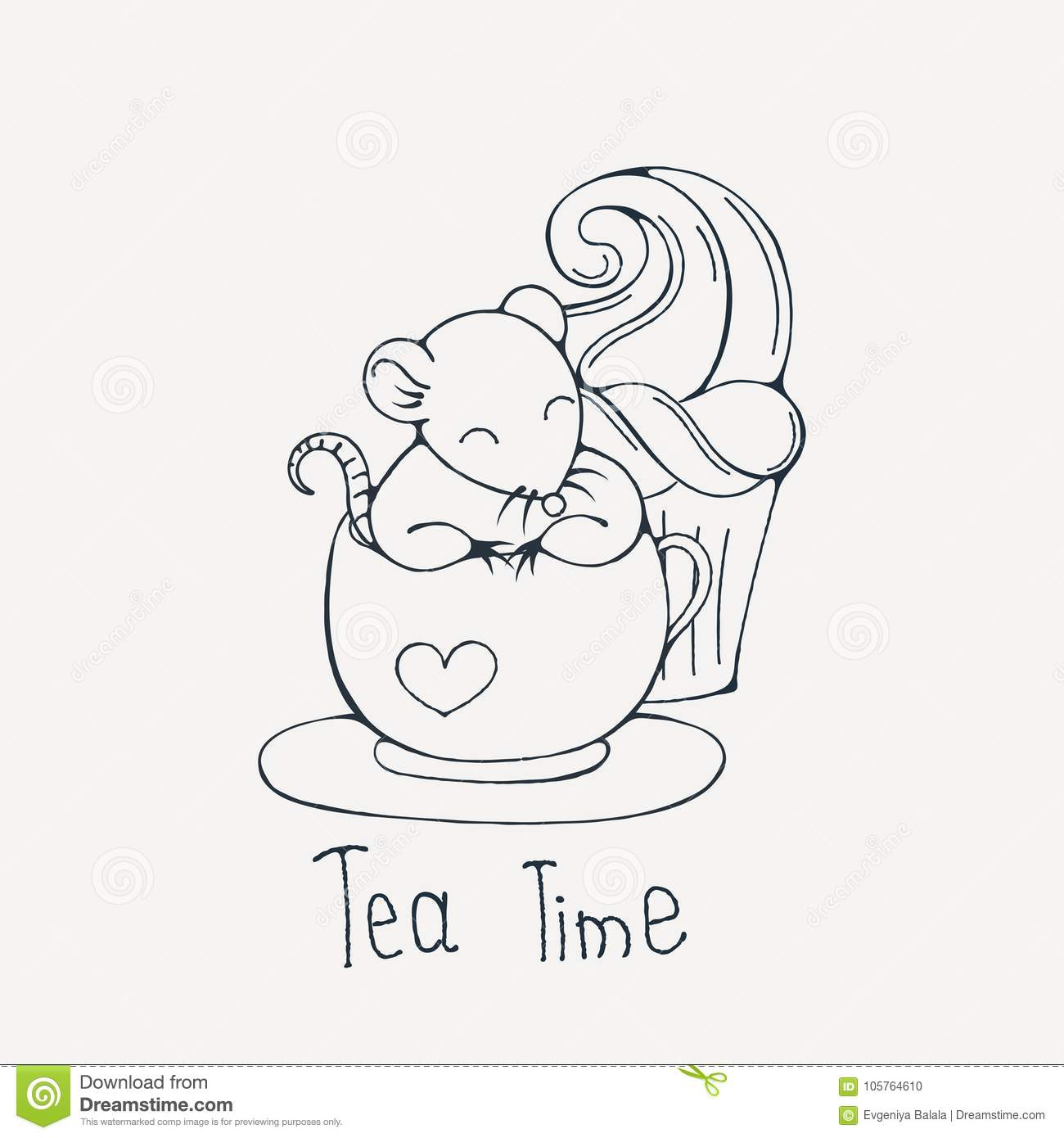 Illustration With Cute Rat In A Cup Of Tea Or Coffee With Cupcakes