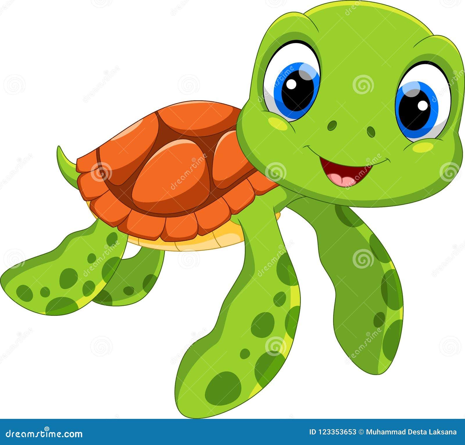 Cute Sea Turtle Cartoon. Funny And Adorable Stock ...