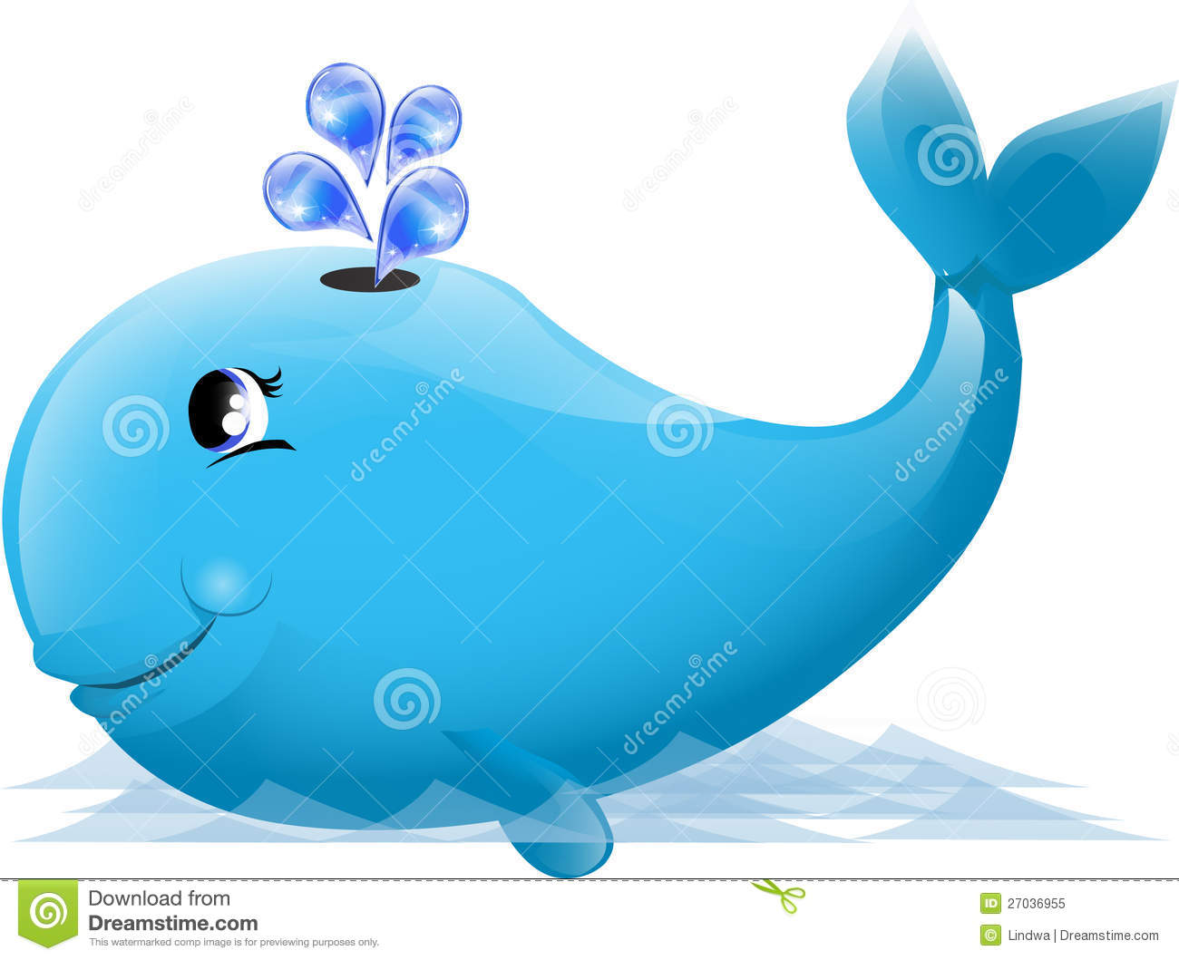 Cute whale in water cartoon isolated illustration stock photography - Royalty Free Stock Photo Background Cute Vector Whale Flipper Water
