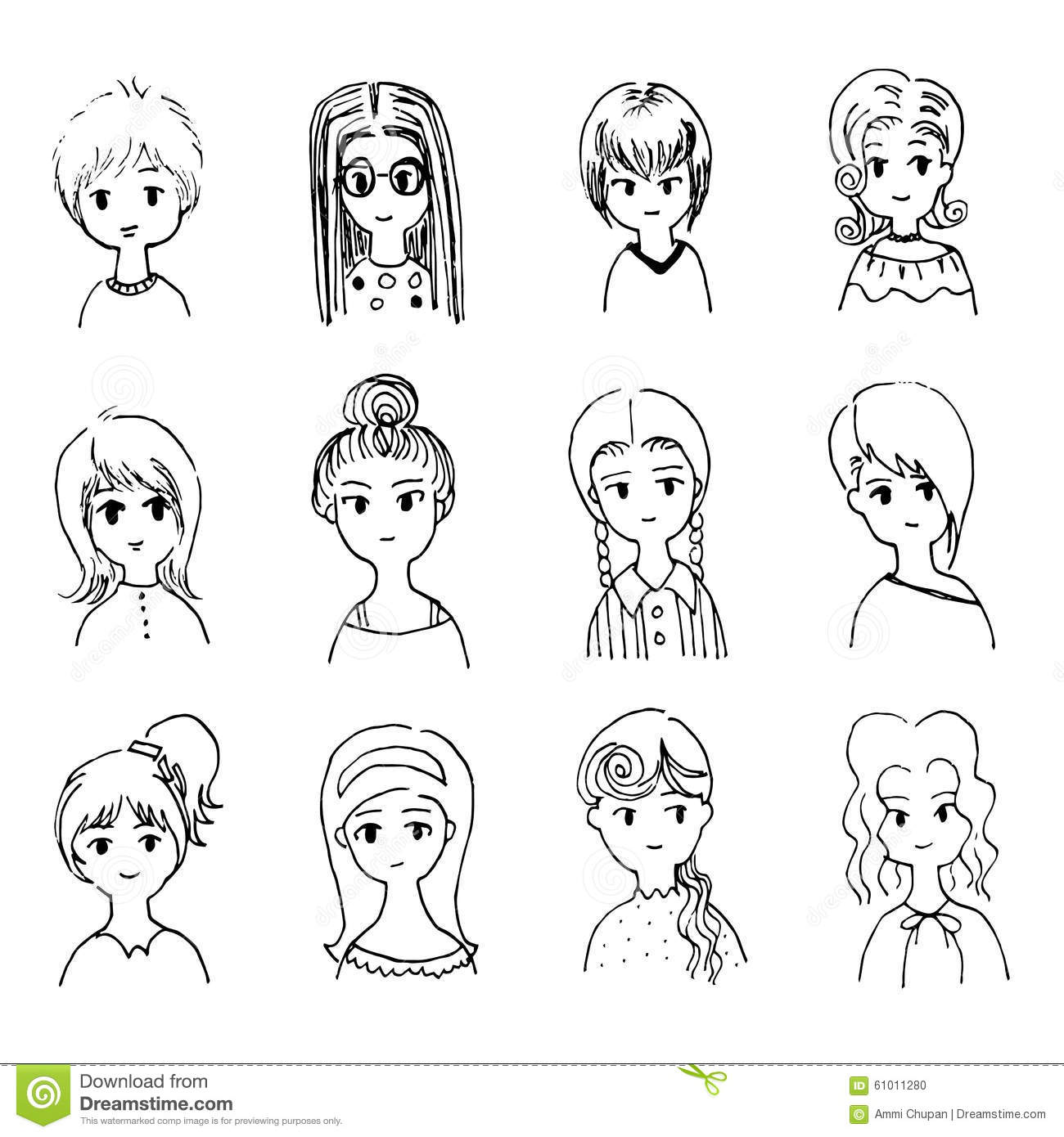 Xterm Line Drawing Characters : Illustration cute womens character stock vector image