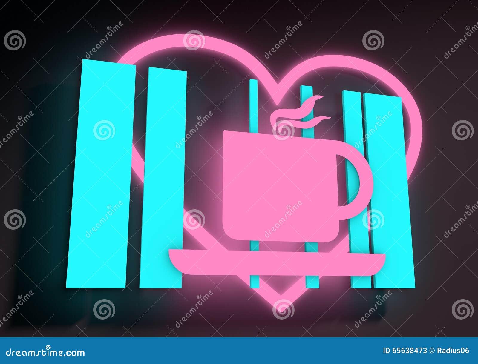 Illustration dépeignant un signe au néon lumineux de café