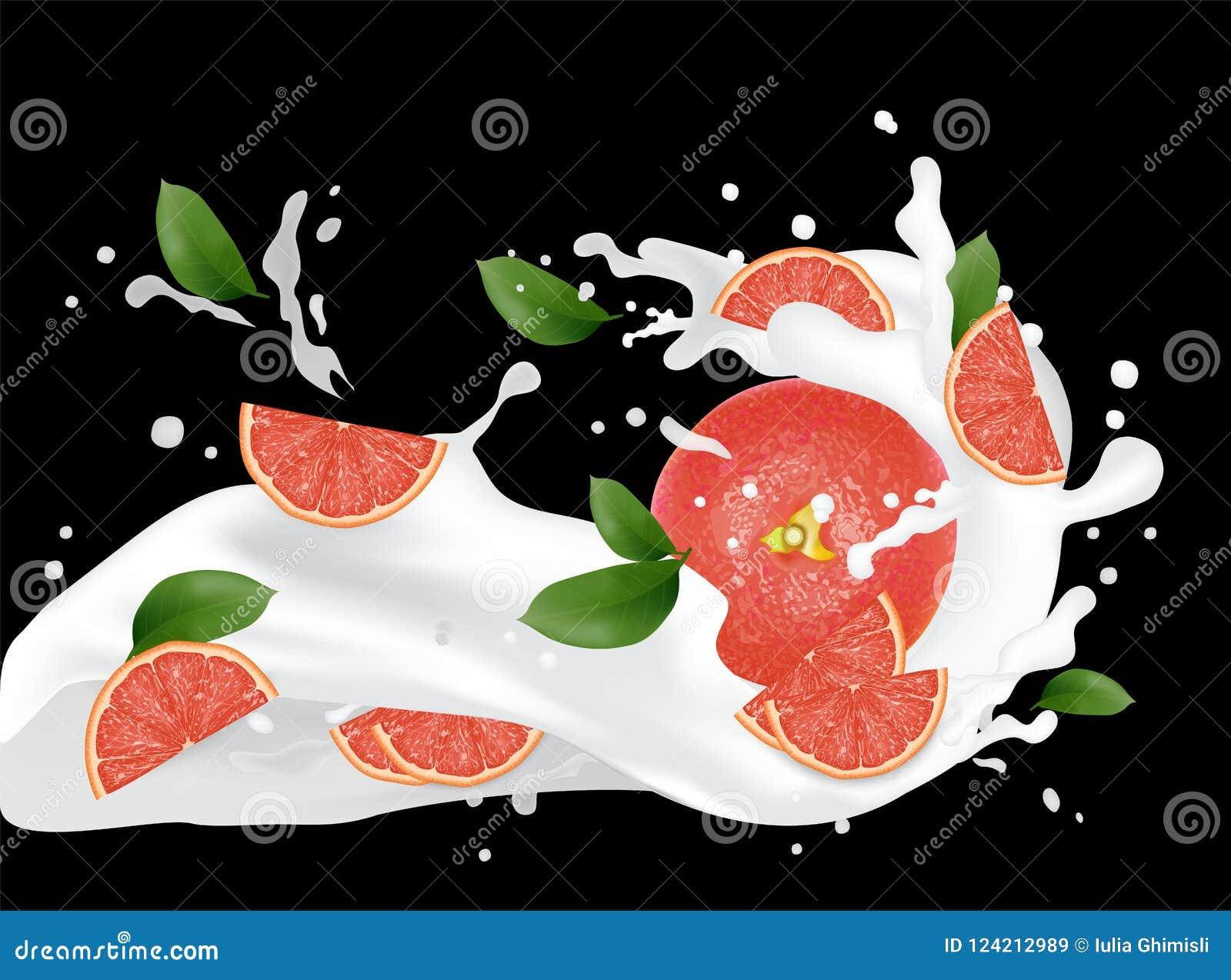 Illustration d éclaboussure de pamplemousse Éclaboussement du jus de lait Cocktail f