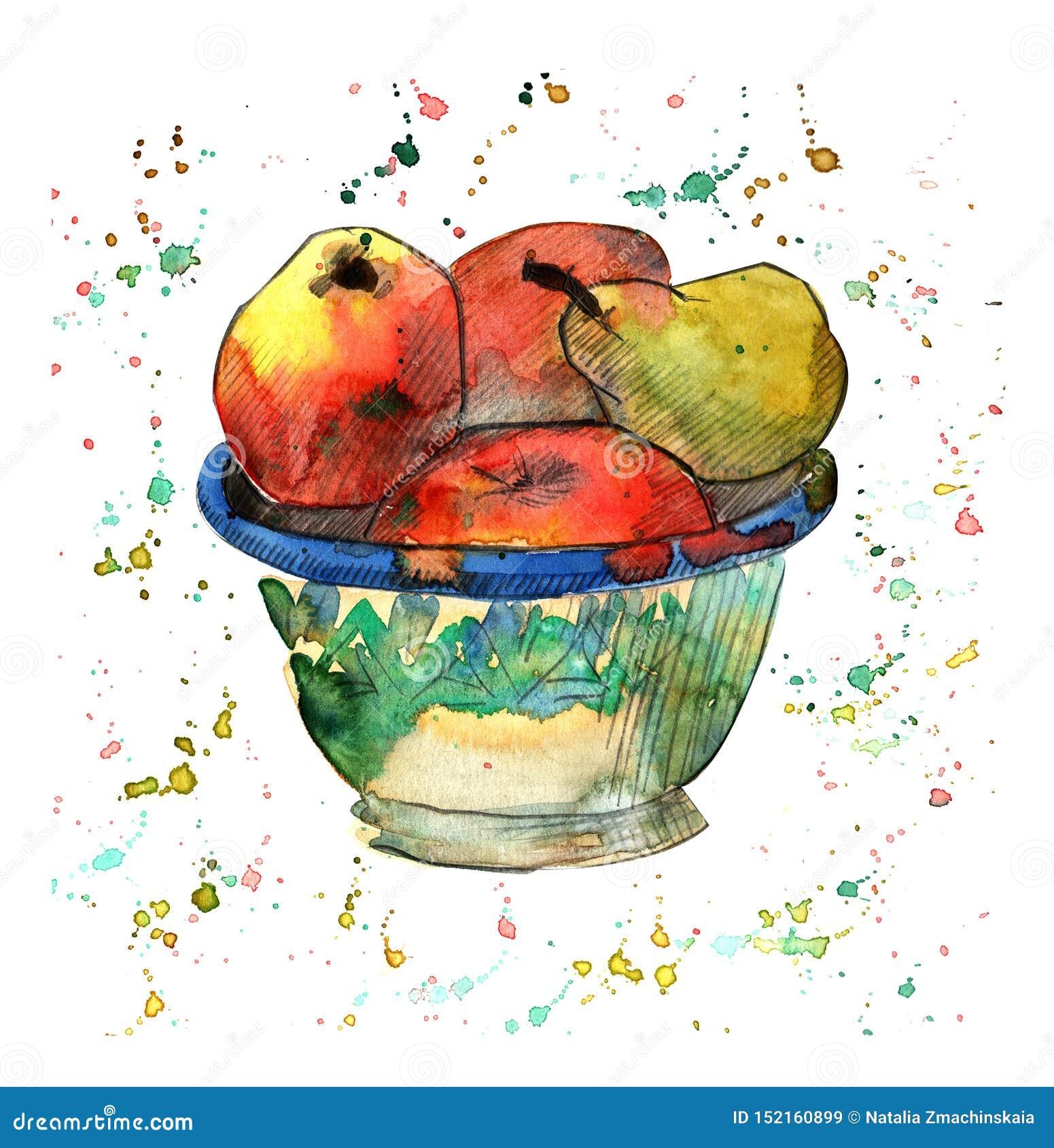 Illustration d aquarelle avec les pommes et la poire dans la cuvette