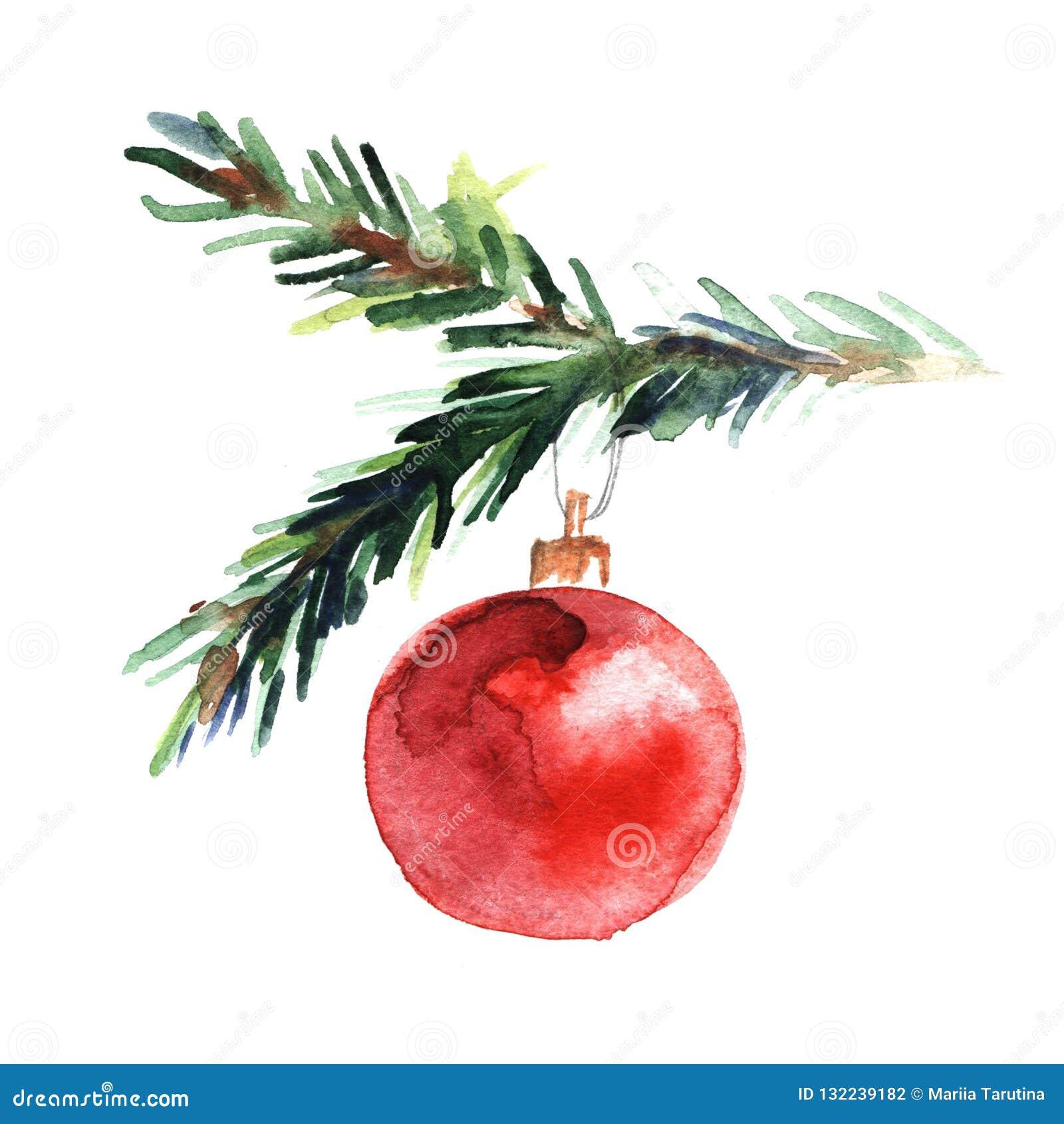 Illustration d aquarelle de brindille impeccable avec la boule rouge de nouvelle année sur le fond blanc Noël et nouvelle année p