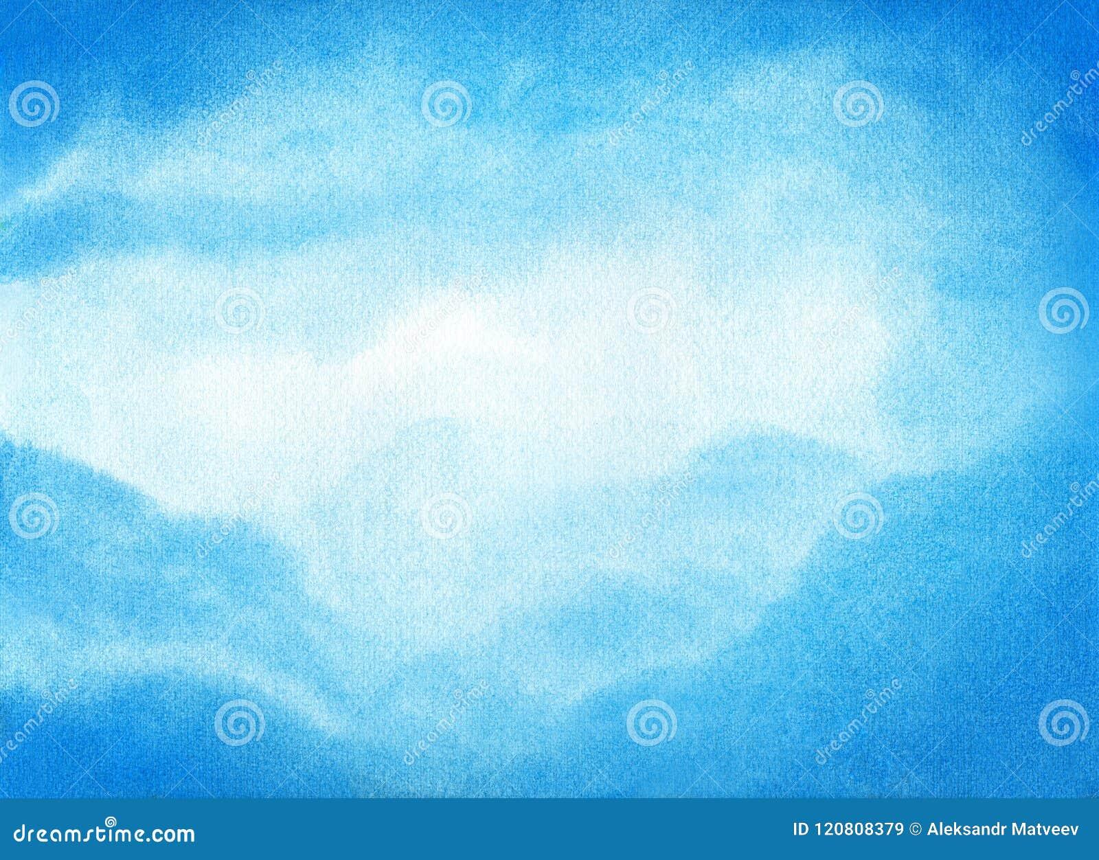 Illustration d aquarelle de ciel bleu avec le nuage Fond naturel artistique d abrégé sur peinture