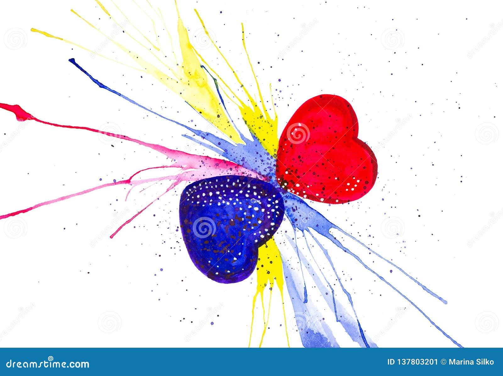 Illustration d aquarelle de coeurs du résumé deux la Saint-Valentin D isolement sur le fond blanc