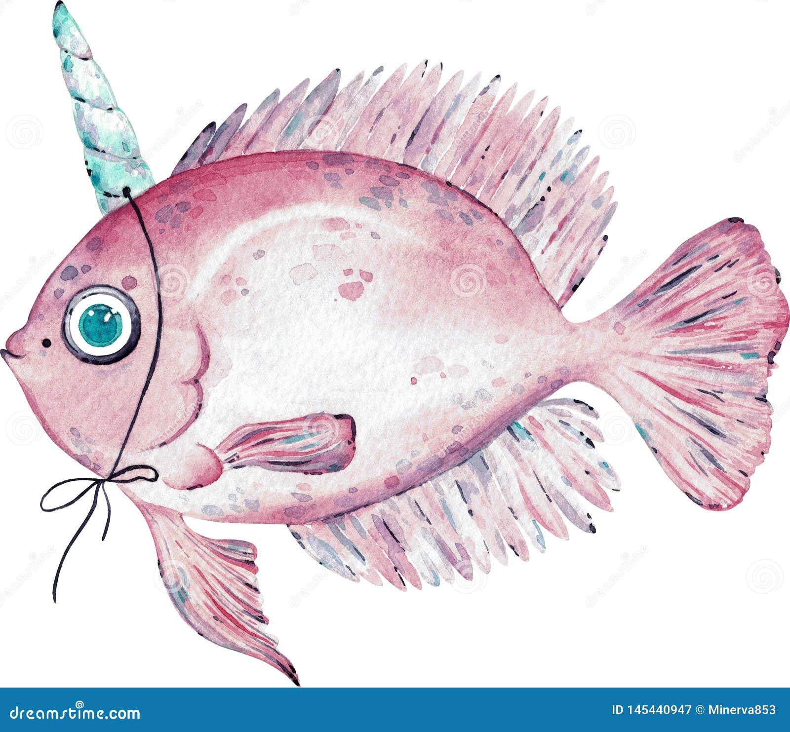 Illustration d aquarelle des poissons roses avec un klaxon sur la tête d isolement sur le fond blanc