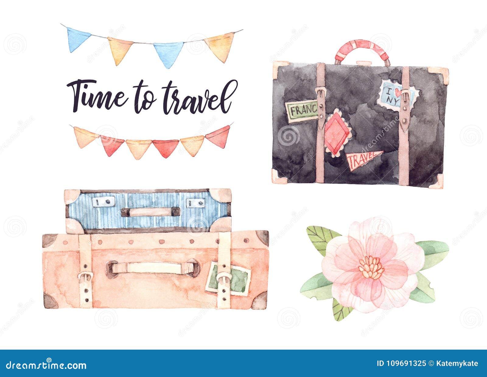 Illustration d aquarelle - laissez le ` s aller voyage Esprit de valises de mode