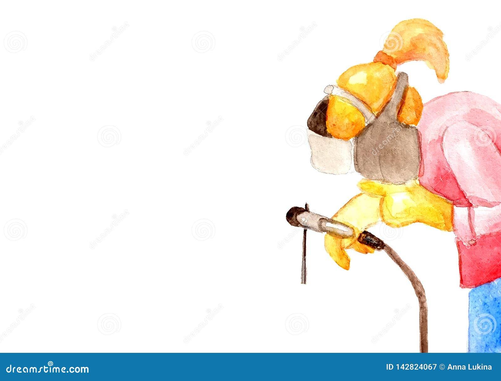 Illustration d aquarelle d une soudeuse femelle soudant un tuyau pour des cartes de visite professionnelle de visite