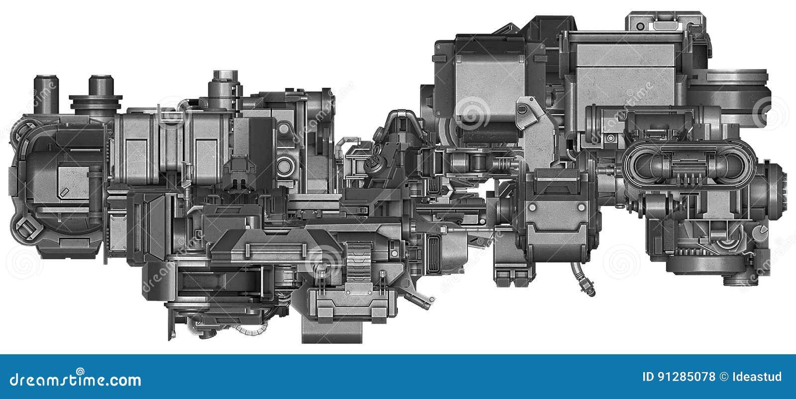 Illustration 3d av abstrakt teknologi för industriell utrustning