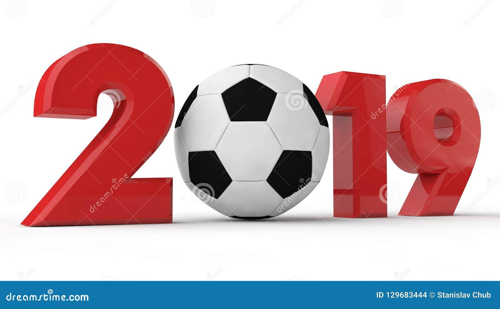 Illustration 3D av 2019 datum, fotbollboll, fotbollera, år av sporten framförande 3d Idén för kalendern