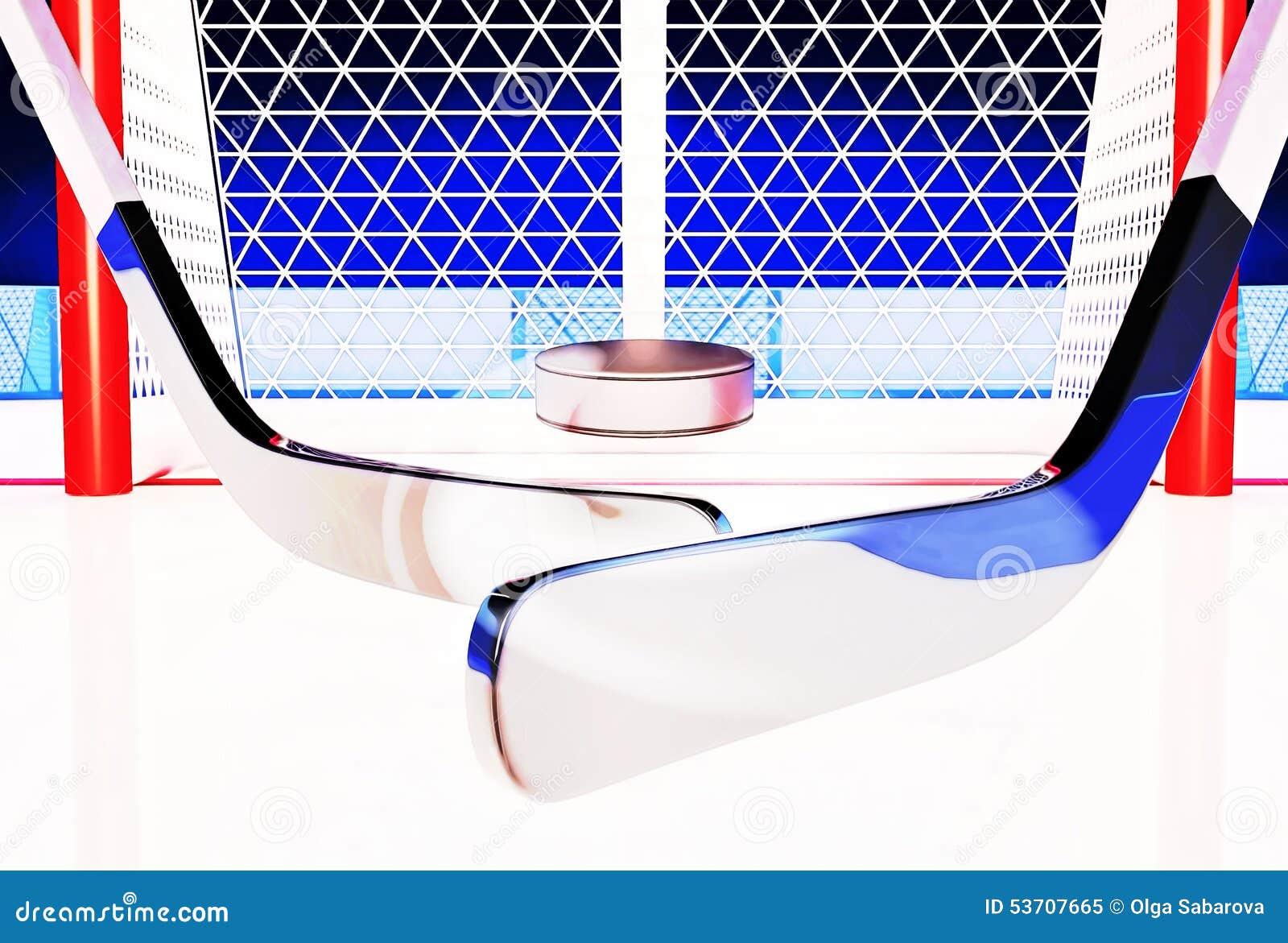 Illustration 3d av den hockeypinnar och pucken på isisbanan